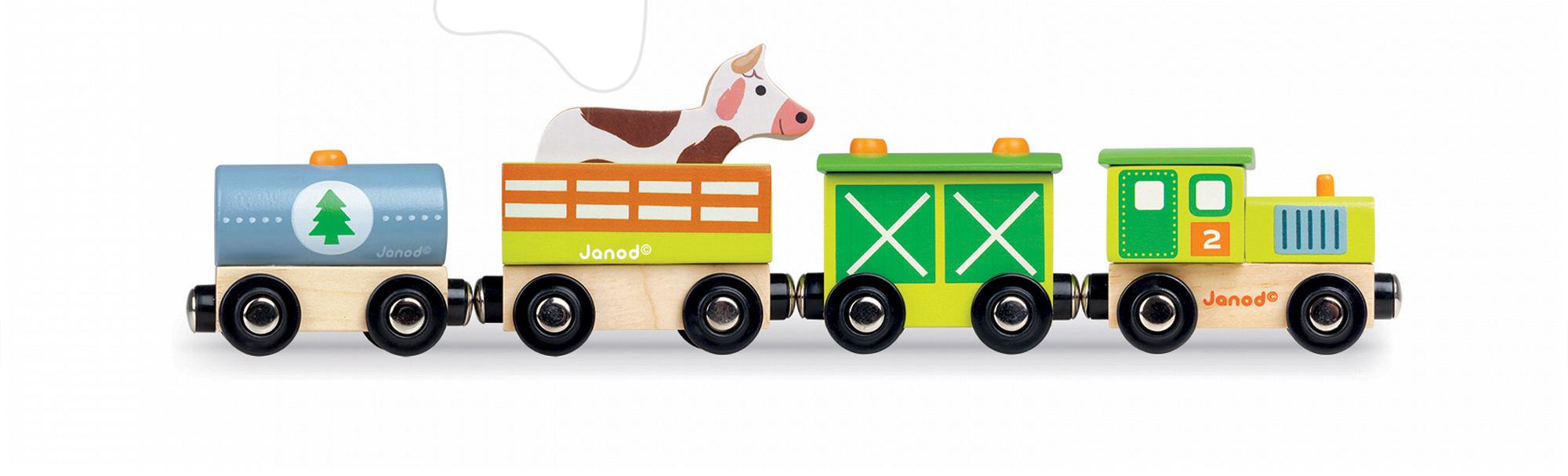 Dřevěný magnetický vlak Farma Story Set Janod s kravičkou od 18 měsíců