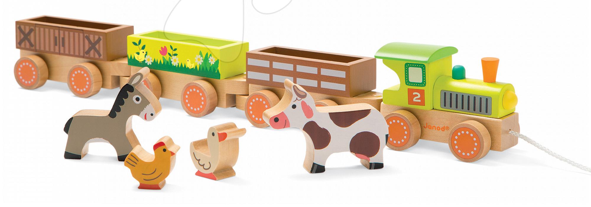 Dřevěný vláček Farma Story Set Janod se 4 zvířátky od 18 měsíců