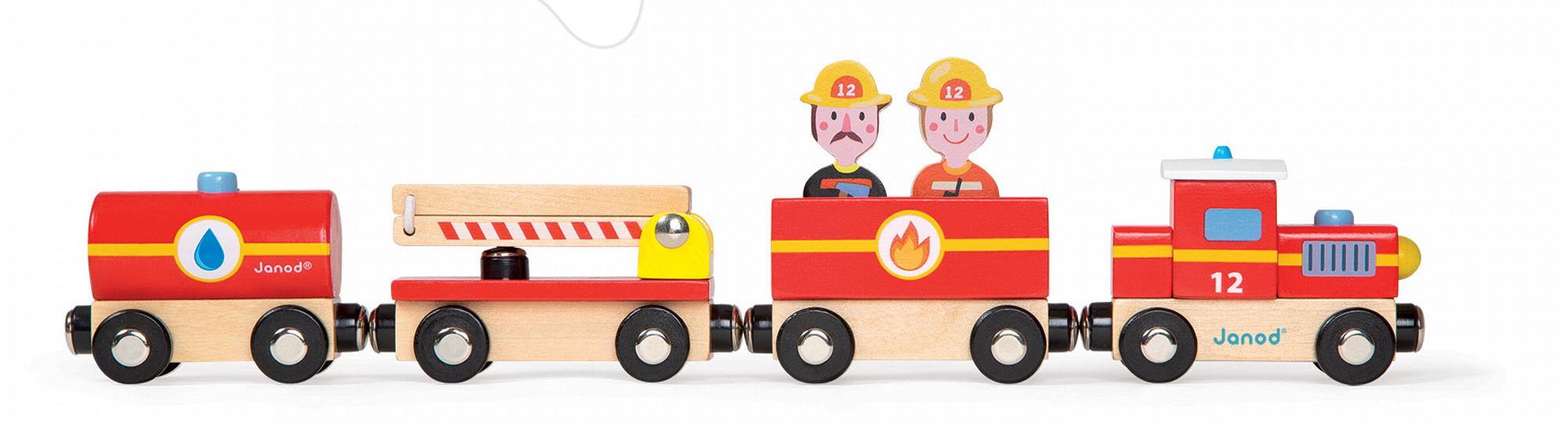 Dřevěný magnetický vlak Hasiči Story Set Janod s 2 figurkami