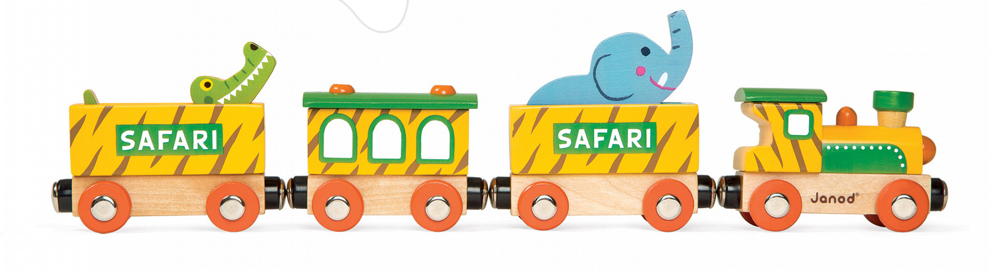 Poľnohospodárske stroje - Drevený magnetický vlak Safari Story Set Janod s 2 zvieratkami