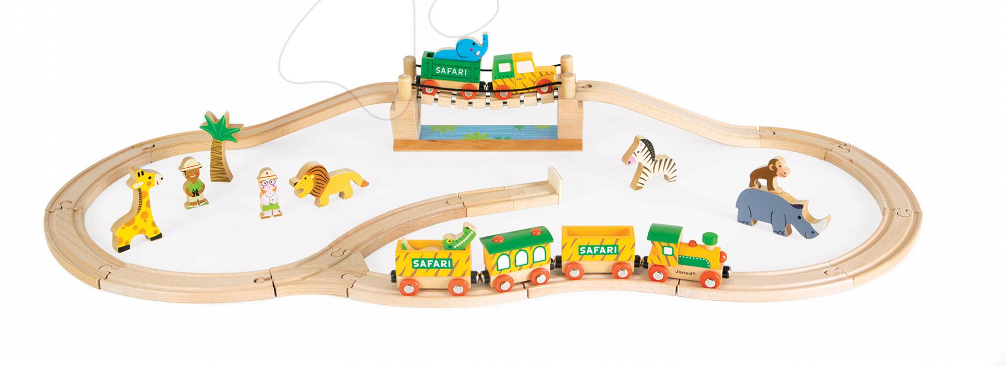 Dřevěná magnetická stavebnice Express safari Story Set Janod 33 dílů