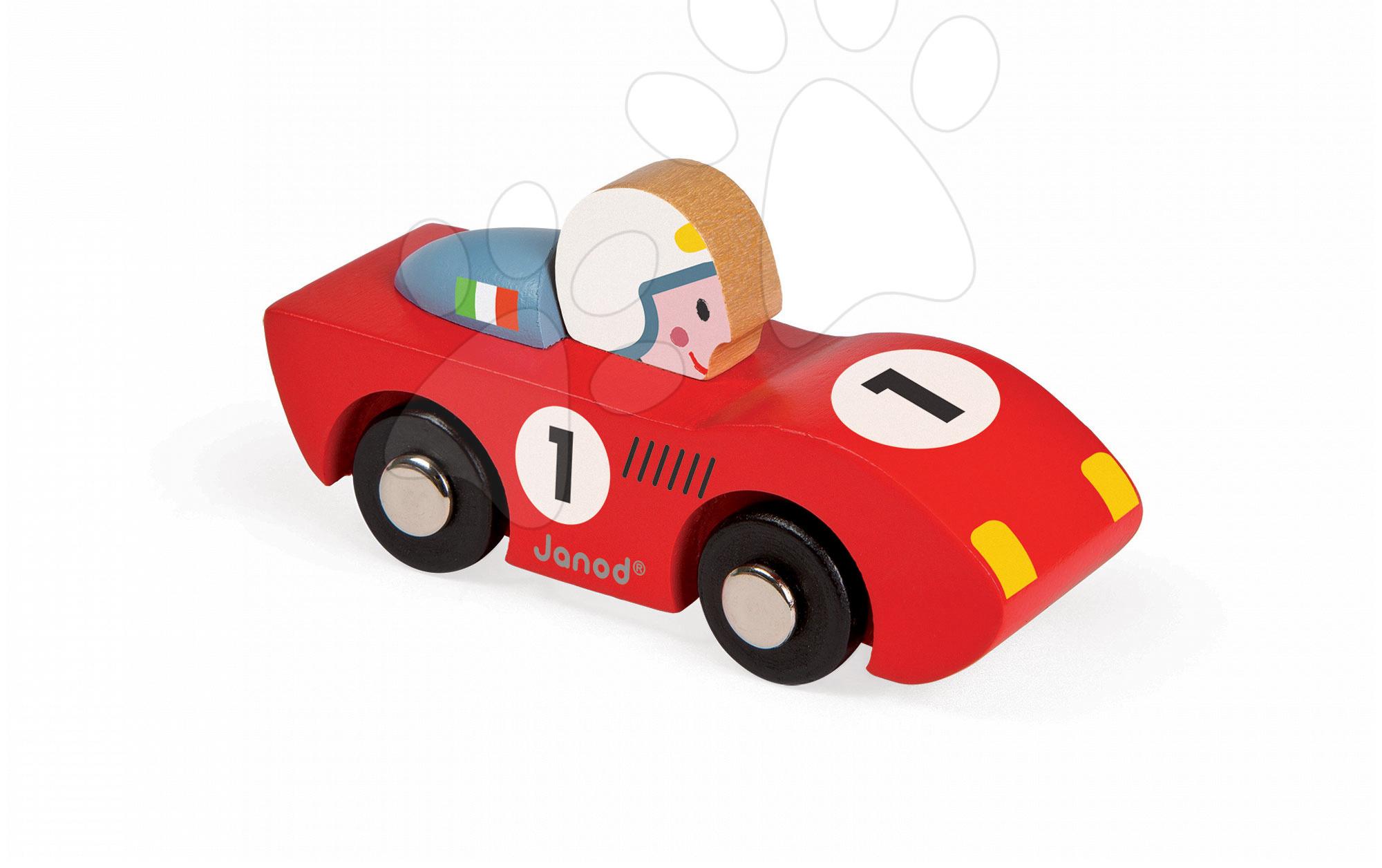 Dřevěné auto Speed Story Racing Janod modré/červené