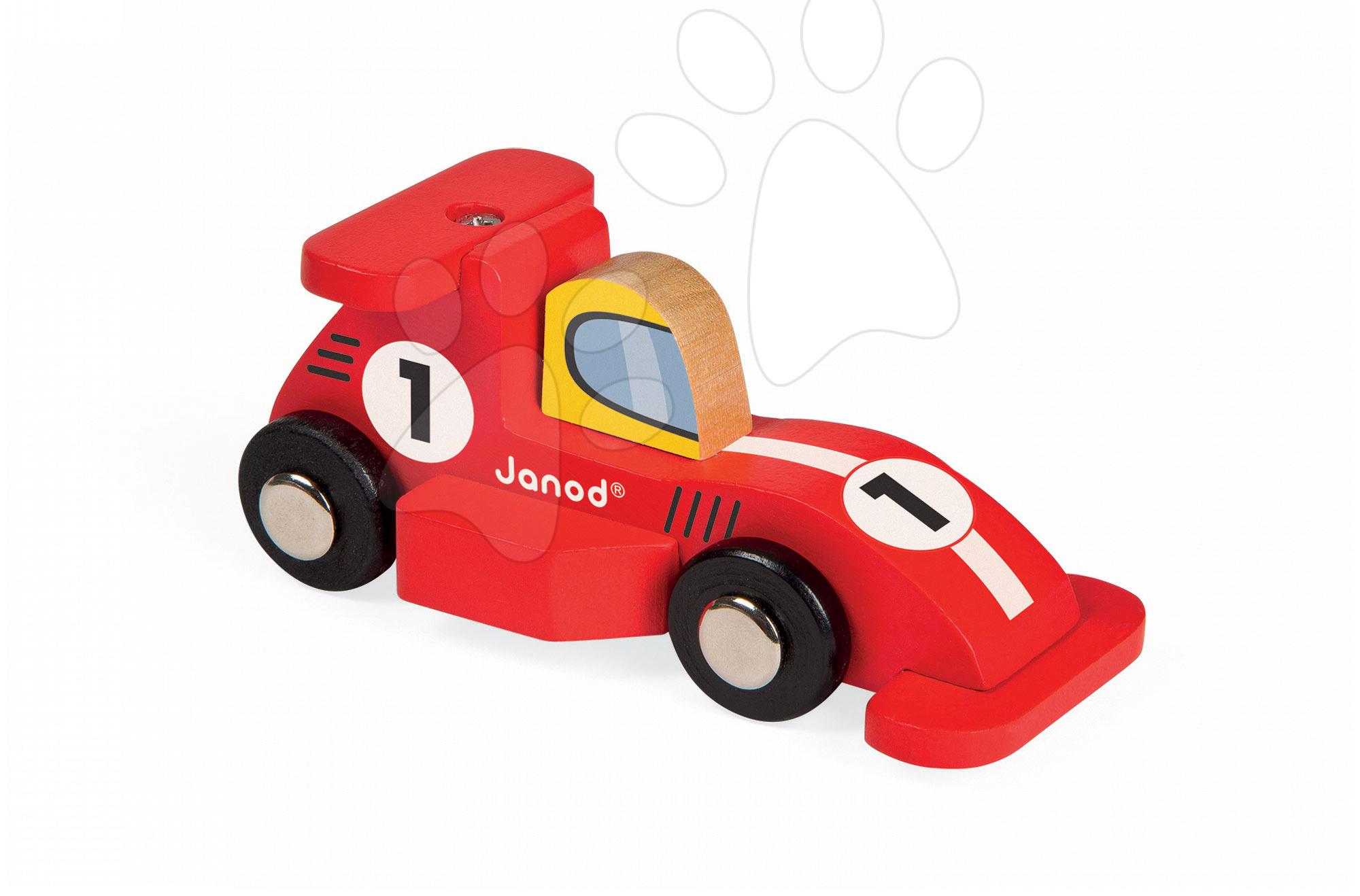 Autíčka - Drevené auto Formula 1 Story Racing Janod červené/strieborné