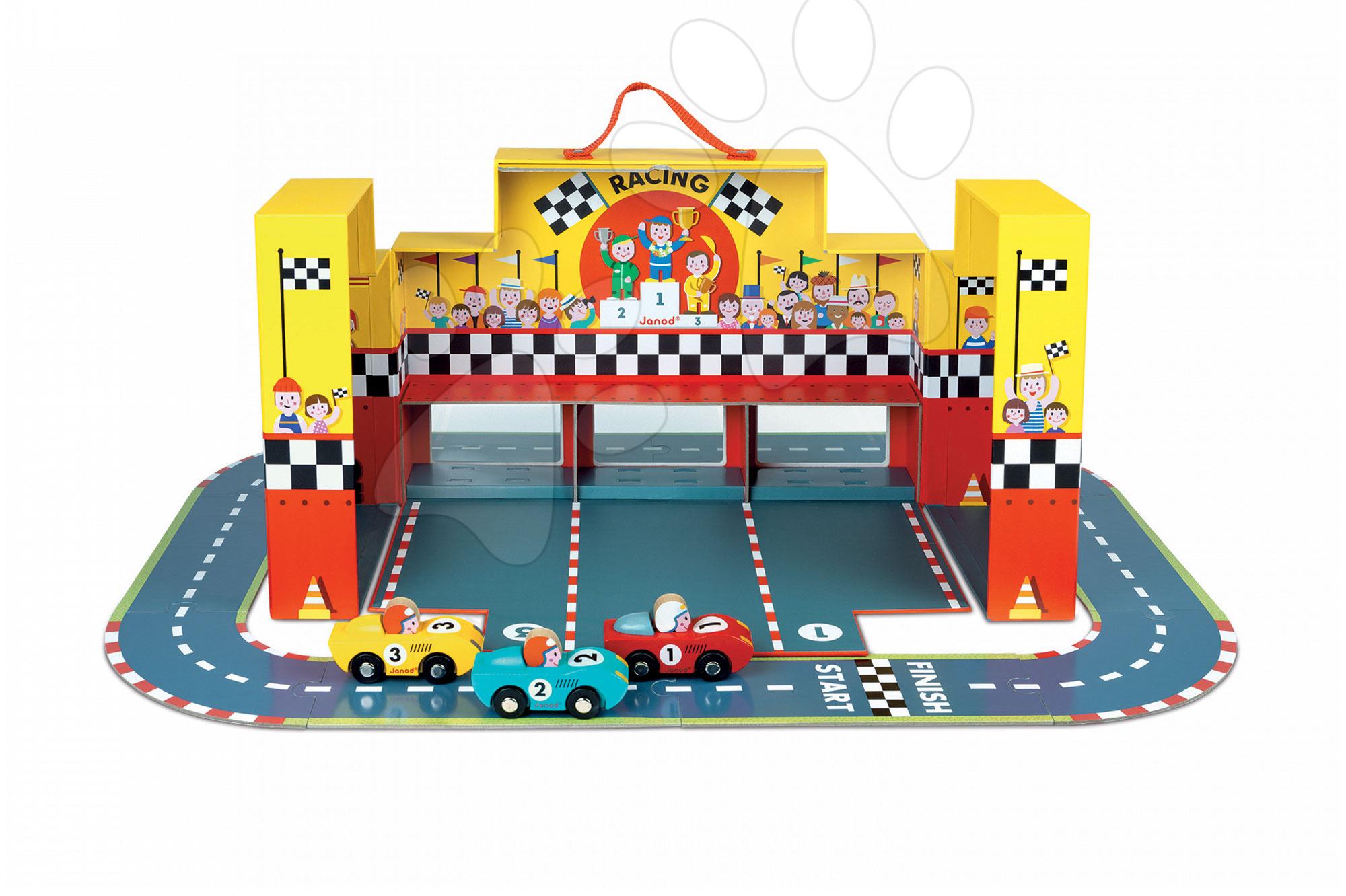 Závodní dráha Story Set Janod s 3 auty a puzzle