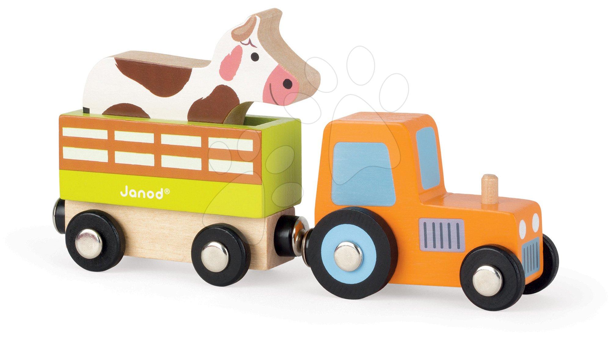Poľnohospodárske stroje - Drevený magnetický traktor Story Set Janod s kravičkou 3 diely