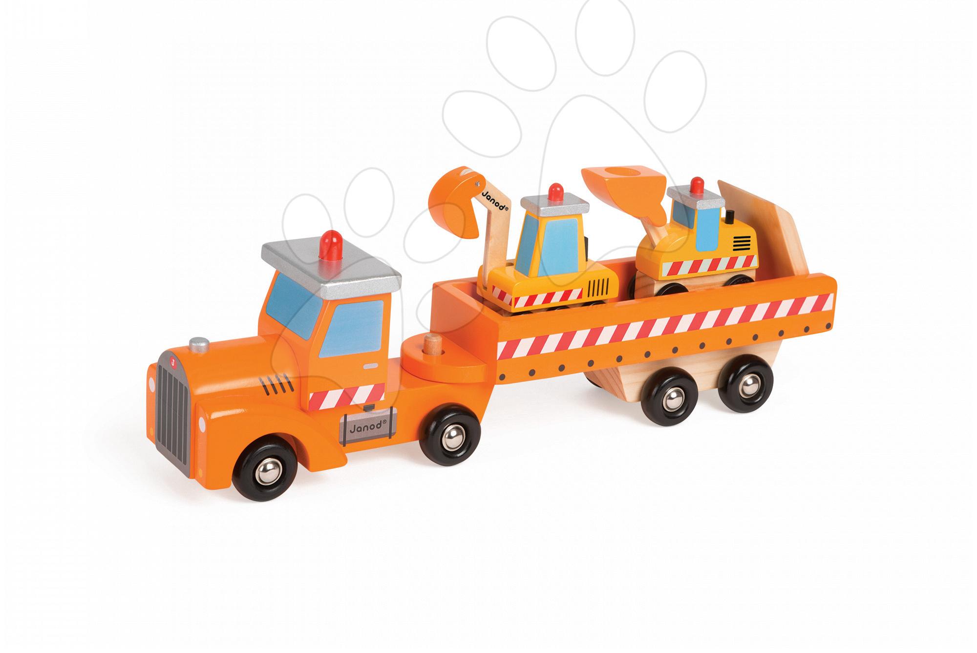 Nákladné autá - Drevený kamión Story Set Janod s bagrom a nakladačom od 24 mes