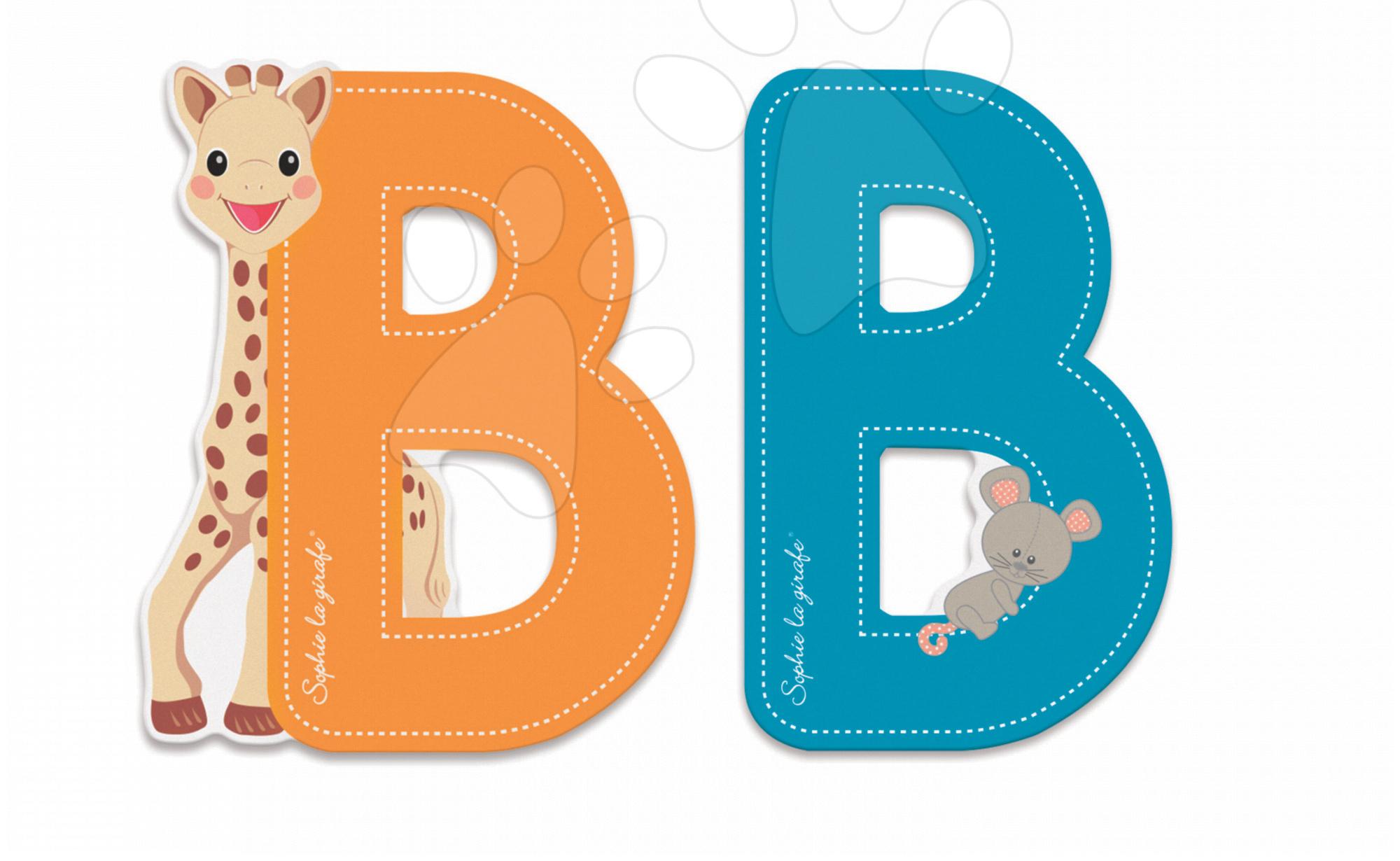 Dřevěné písmeno B Sophie The Giraffe Janod lepící 7 cm modré/oranžové od 3 let