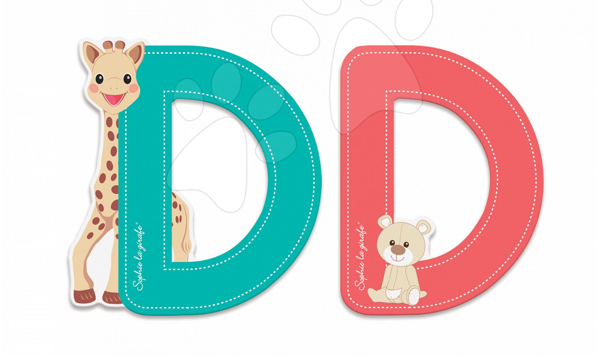 Dekorácie do detských izieb - Drevené písmeno D Sophie The Giraffe Janod lepiace 7 cm tyrkysové/červené od 3 rokov