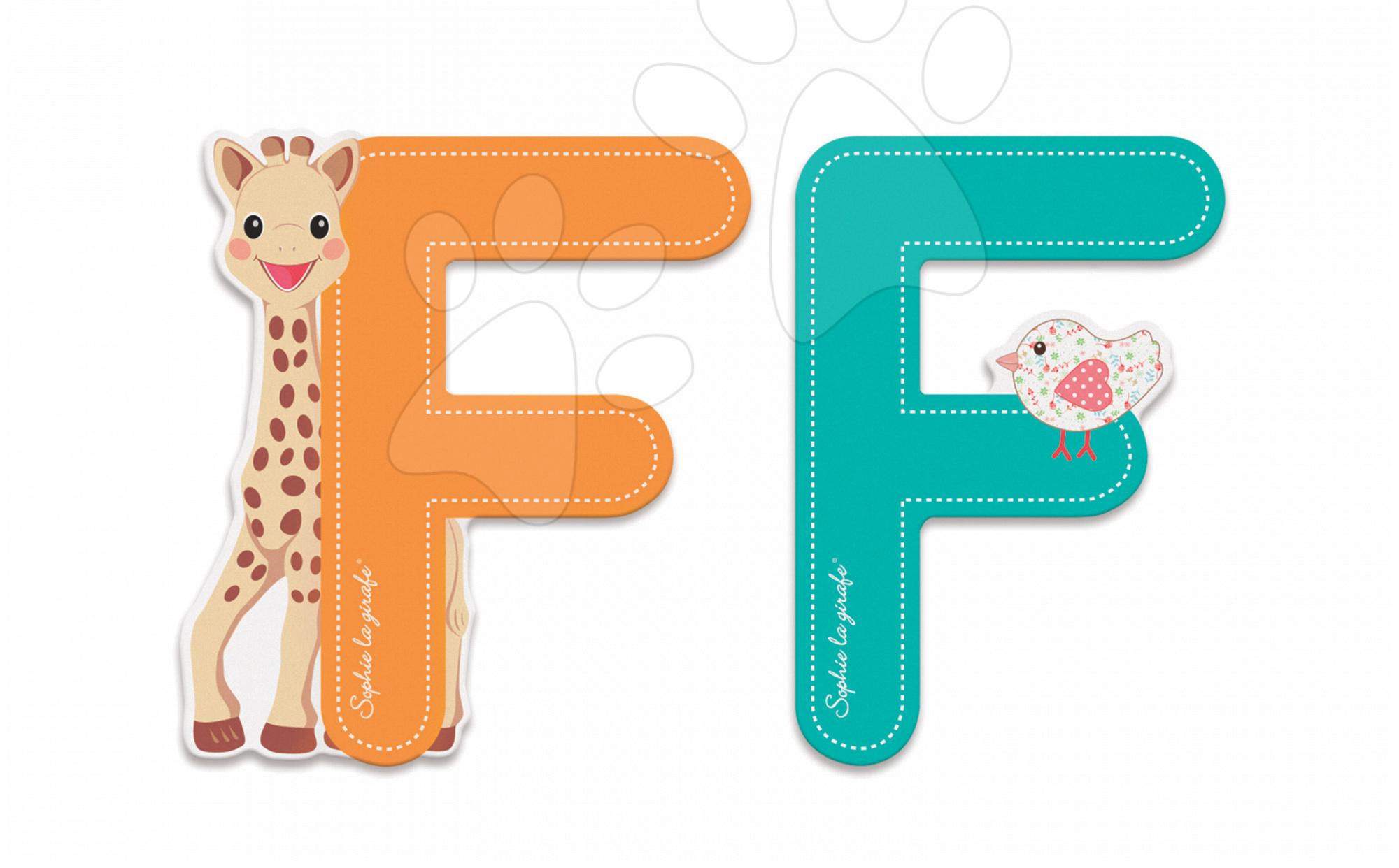 Dekorácie do detských izieb - Drevené písmeno F Sophie The Giraffe Janod lepiace 7 cm oranžové/tyrkysové od 3 rokov