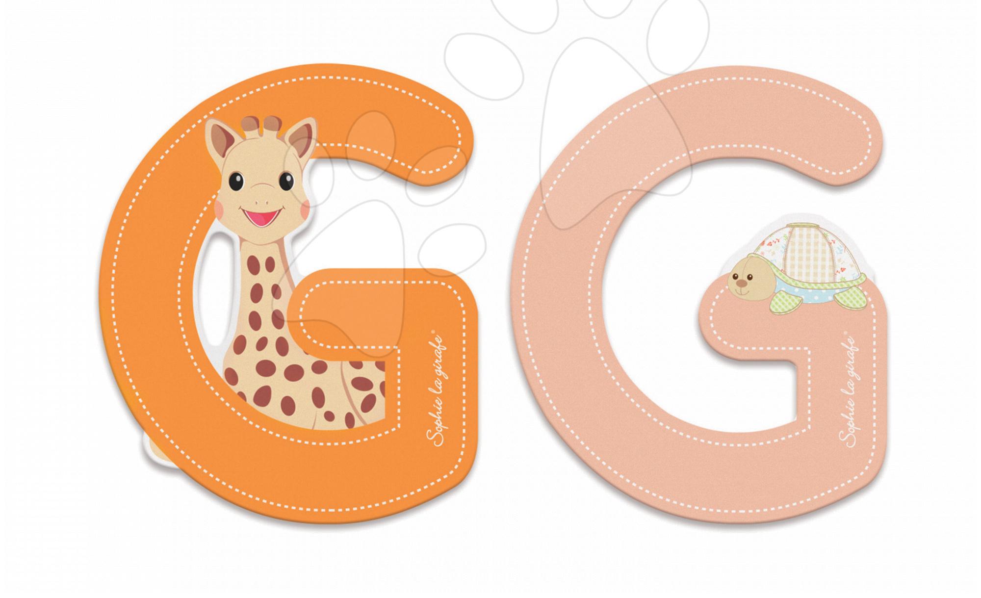 Dřevěné písmeno G Sophie The Giraffe Janod lepící 7 cm oranžové/růžové od 3 let