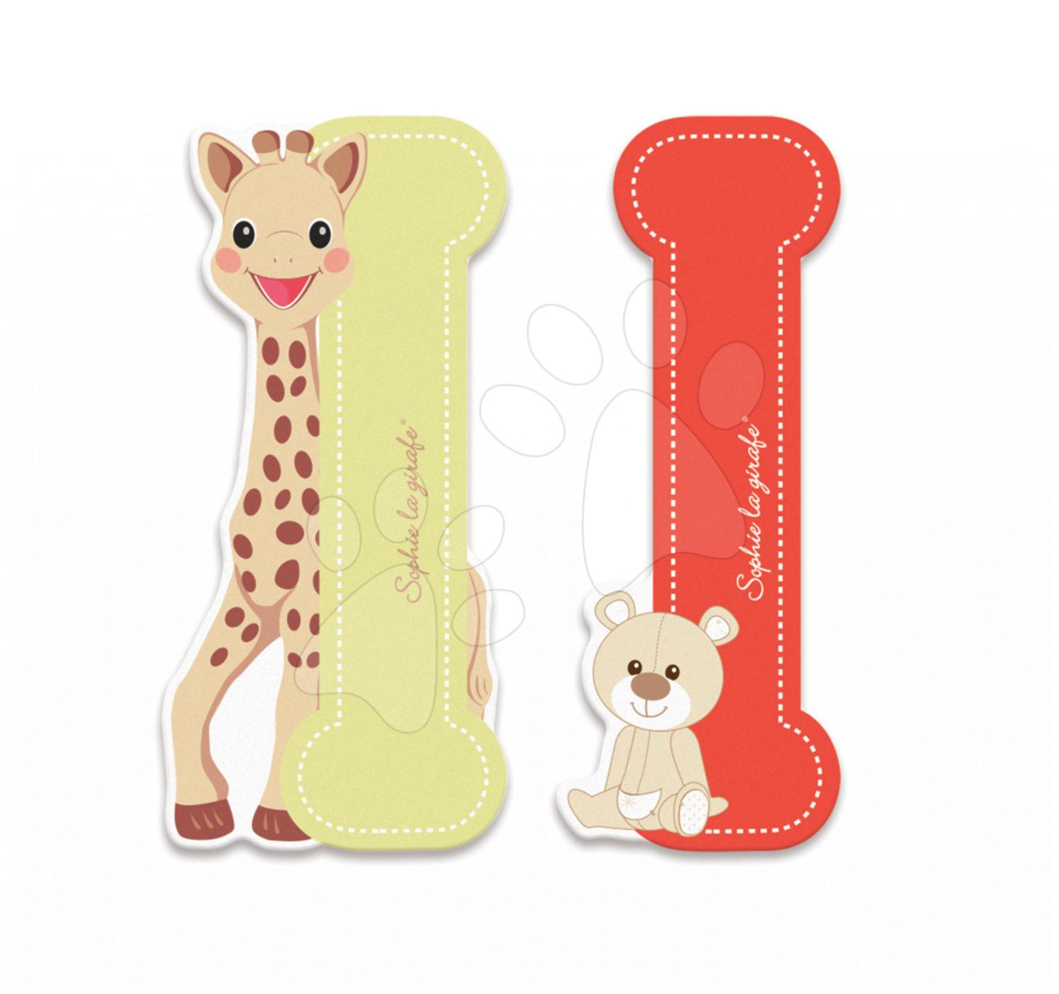 Dekorácie do detských izieb - Drevené písmeno I Sophie The Giraffe Janod lepiace 7 cm béžové/červené od 3 rokov