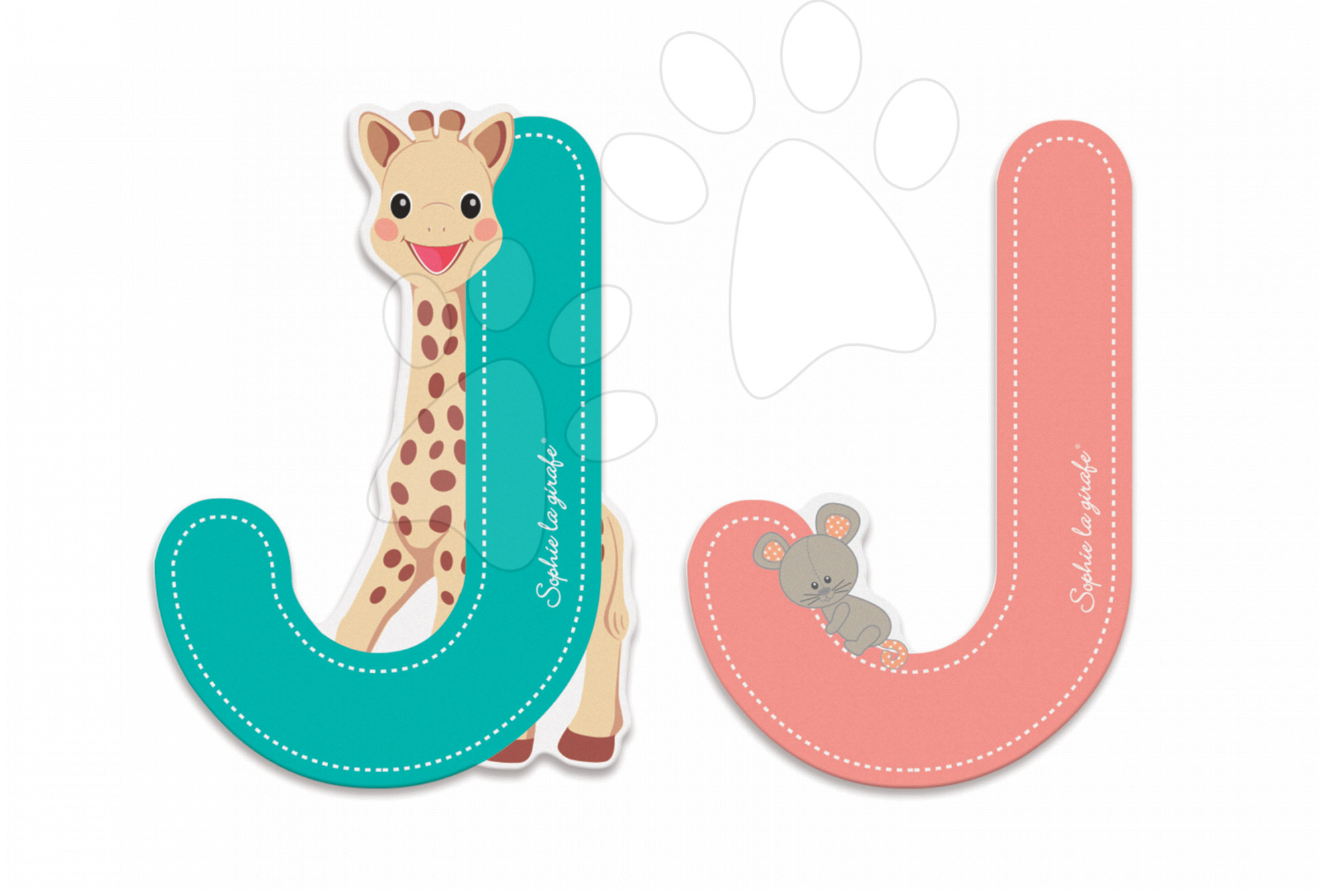 Dřevěné písmeno J Sophie The Giraffe Janod lepící 7 cm tyrkysové/růžové od 3 let