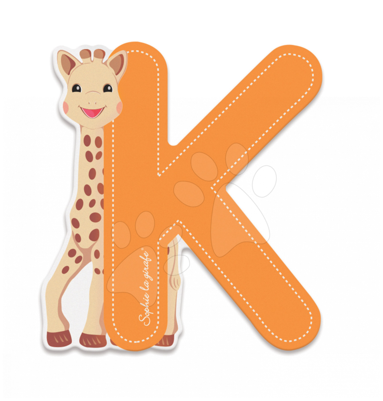Dekorácie do detských izieb - Drevené písmeno K Sophie The Giraffe Janod lepiace 7 cm oranžové