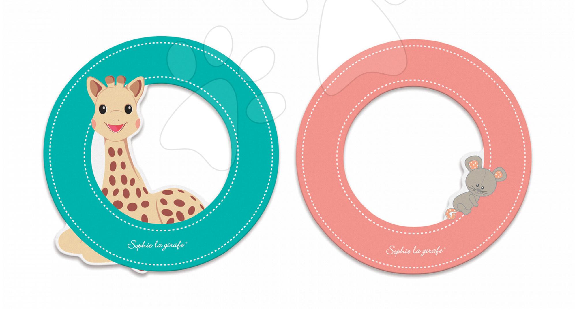 Dekorácie do detských izieb - Drevené písmeno O Sophie The Giraffe Janod lepiace 7 cm tyrkysové/ružové od 3 rokov