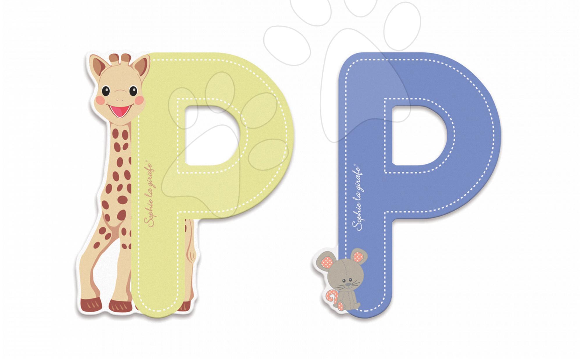 Dřevěné písmeno P Sophie The Giraffe Janod lepící 7 cm béžové/modré od 3 let