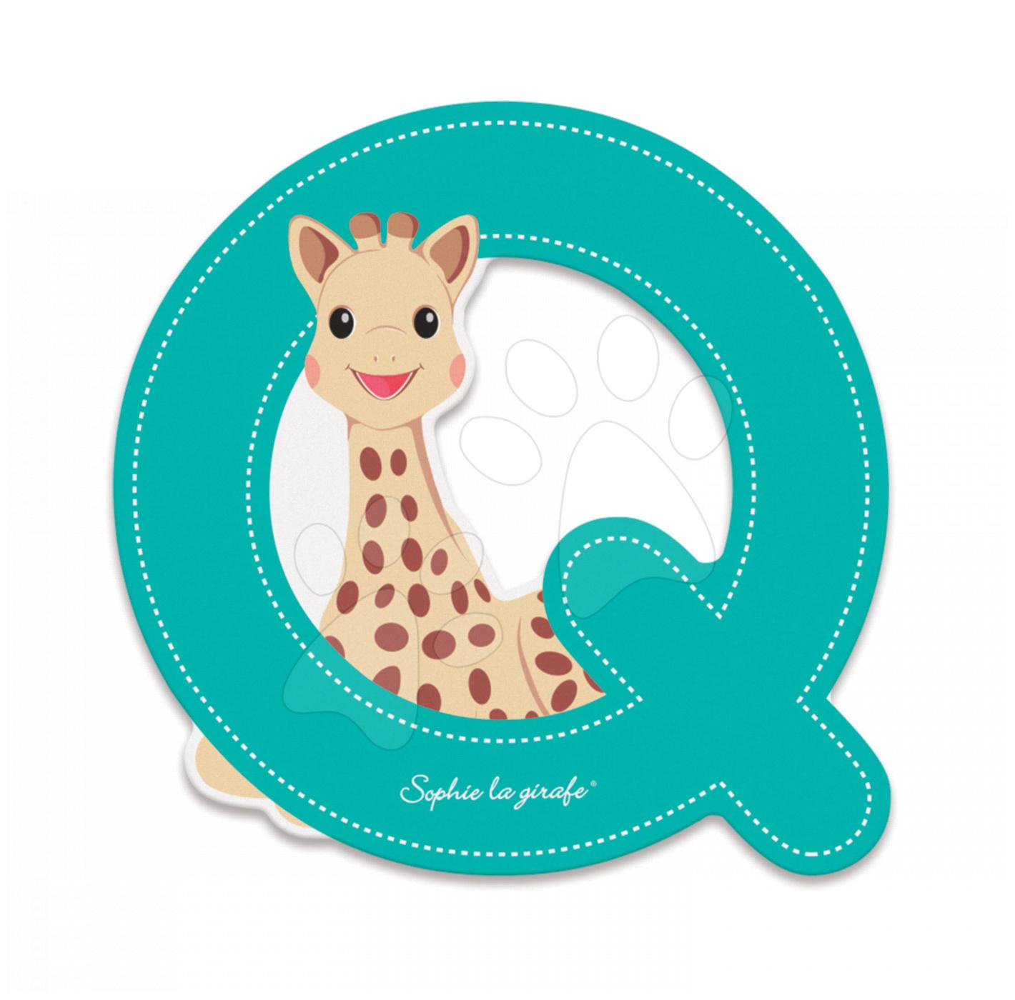 Dřevěné písmeno Q Sophie The Giraffe Janod lepící 7 cm tyrkysové od 3 let
