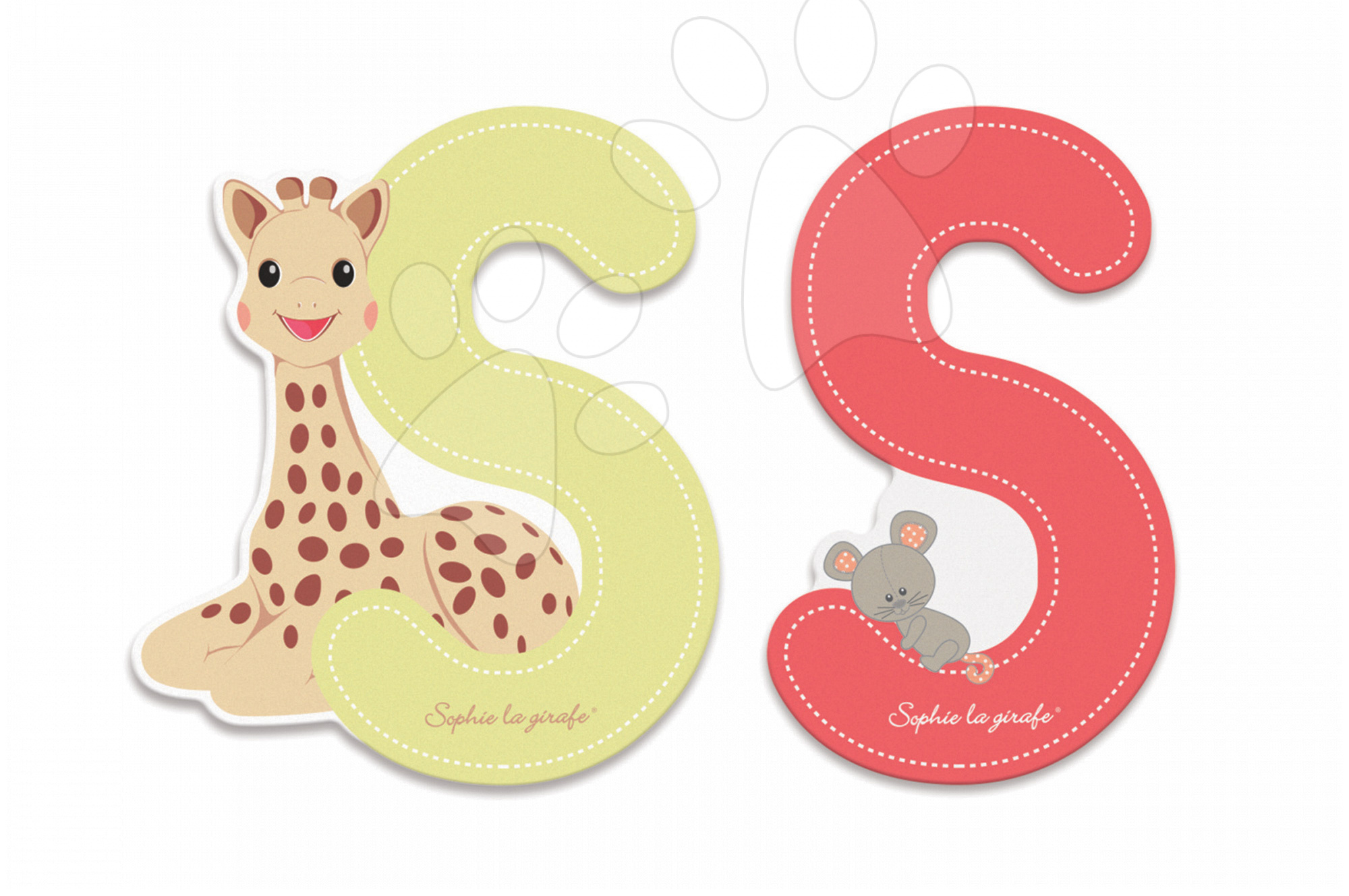 Dekorácie do detských izieb - Drevené písmeno S Sophie The Giraffe Janod lepiace 7 cm béžové/červené od 3 rokov