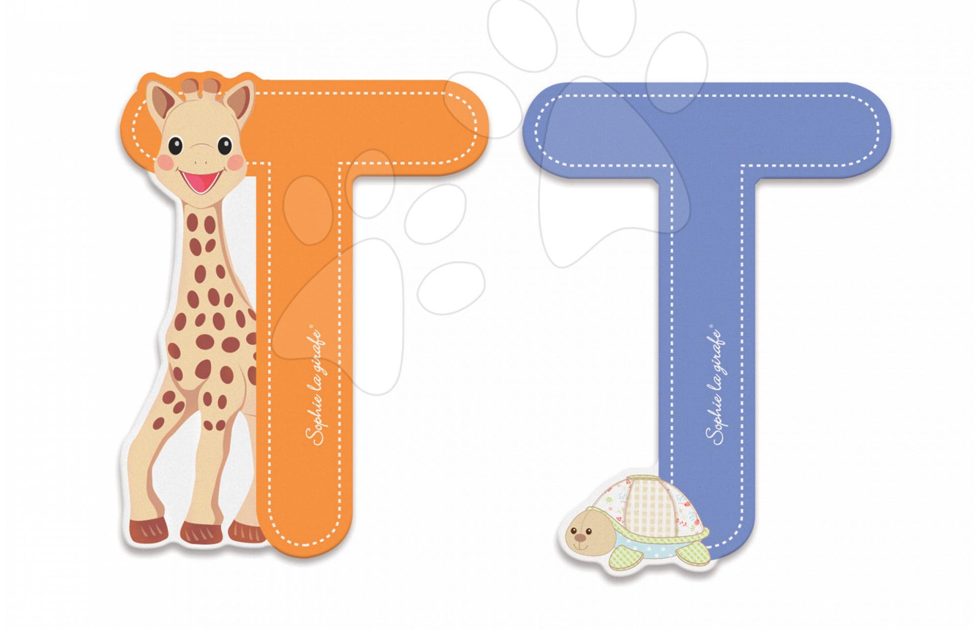 Dekorácie do detských izieb - Drevené písmeno T Sophie The Giraffe Janod lepiace 7 cm oranžové/modré od 3 rokov