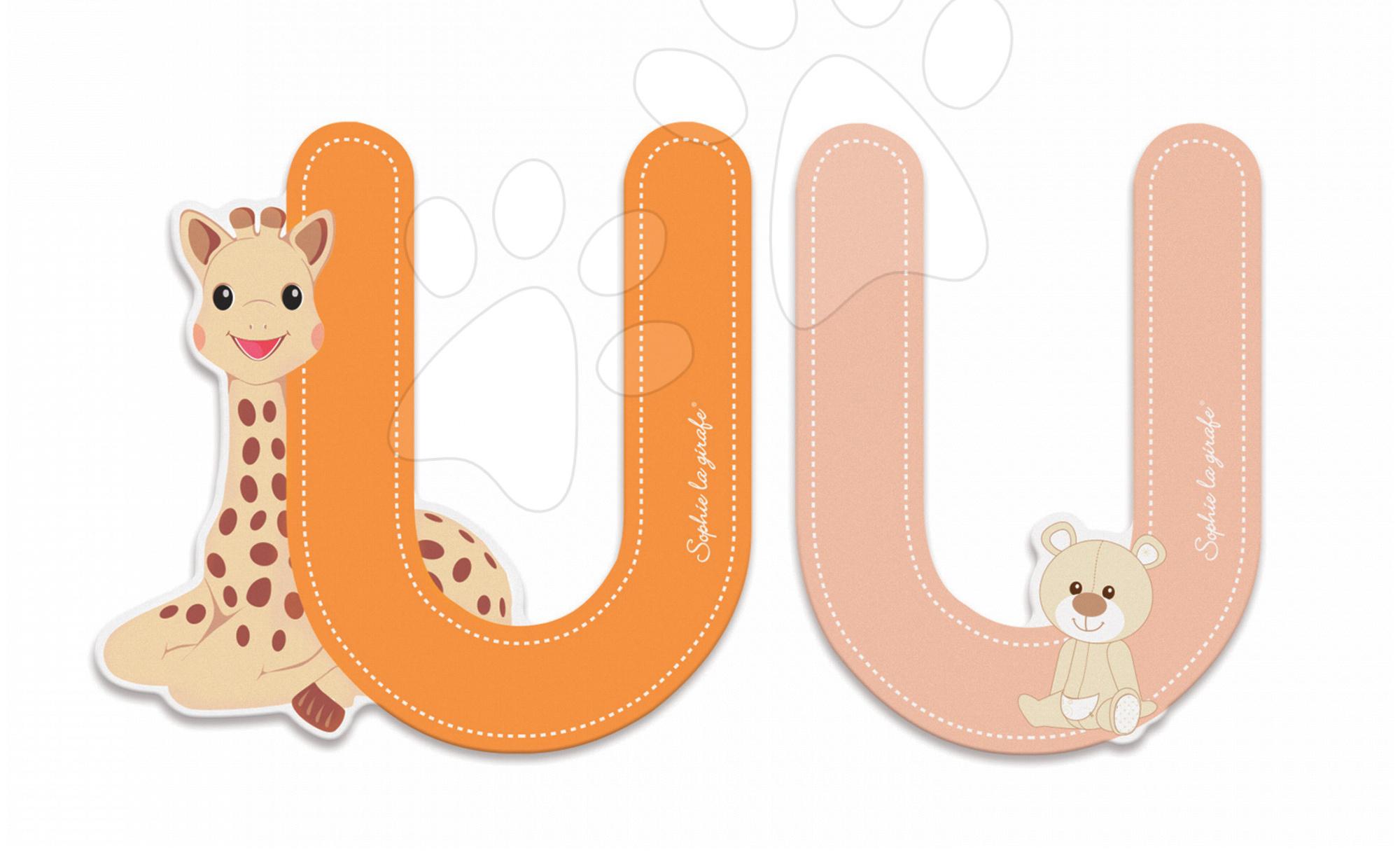 Dřevěné písmeno U Sophie The Giraffe Janod lepící 7 cm oranžové/růžové od 3 let