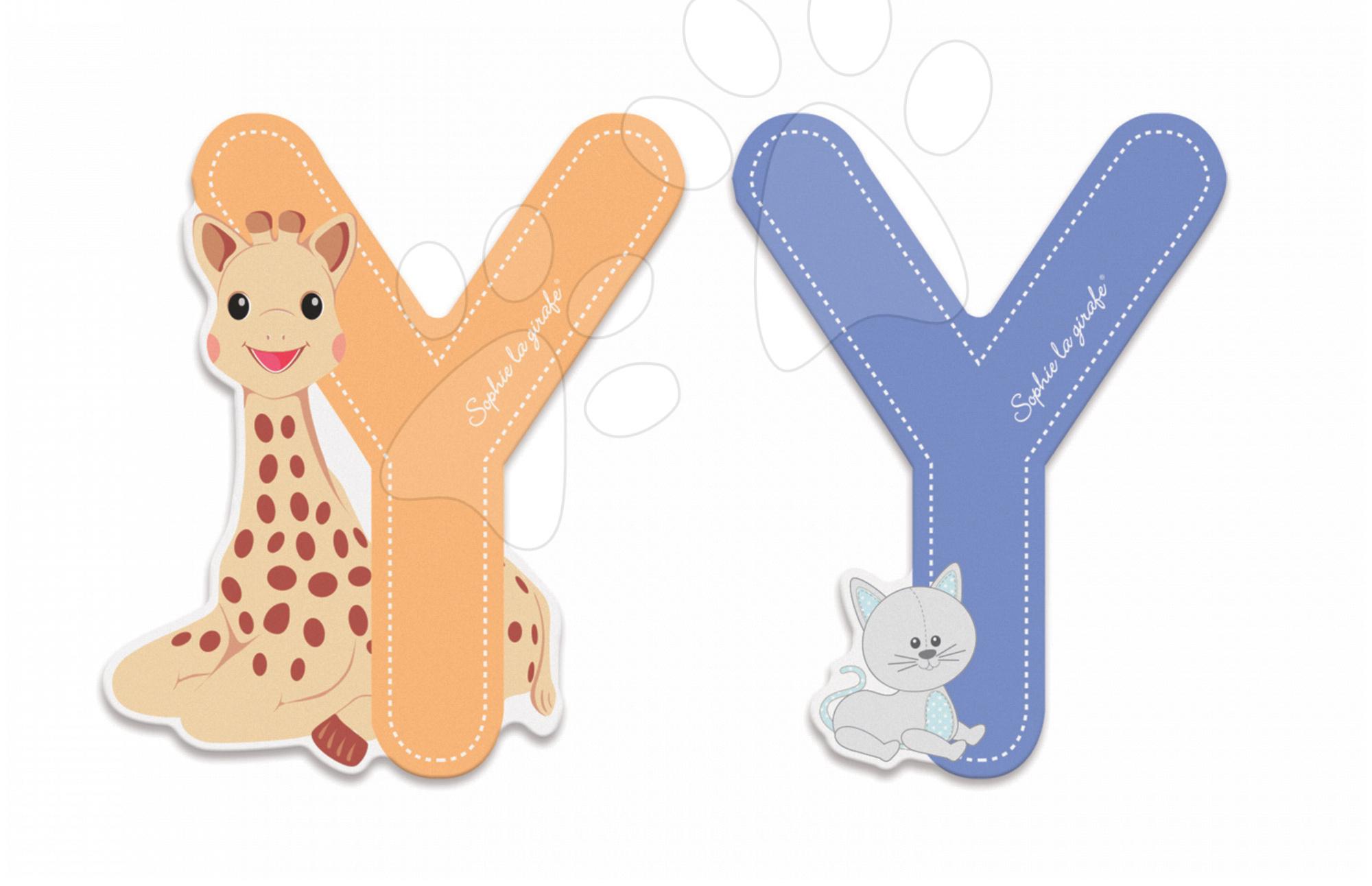 Dekorácie do detských izieb - Drevené písmeno Y Sophie The Giraffe Janod lepiace 7 cm modré/oranžové od 3 rokov