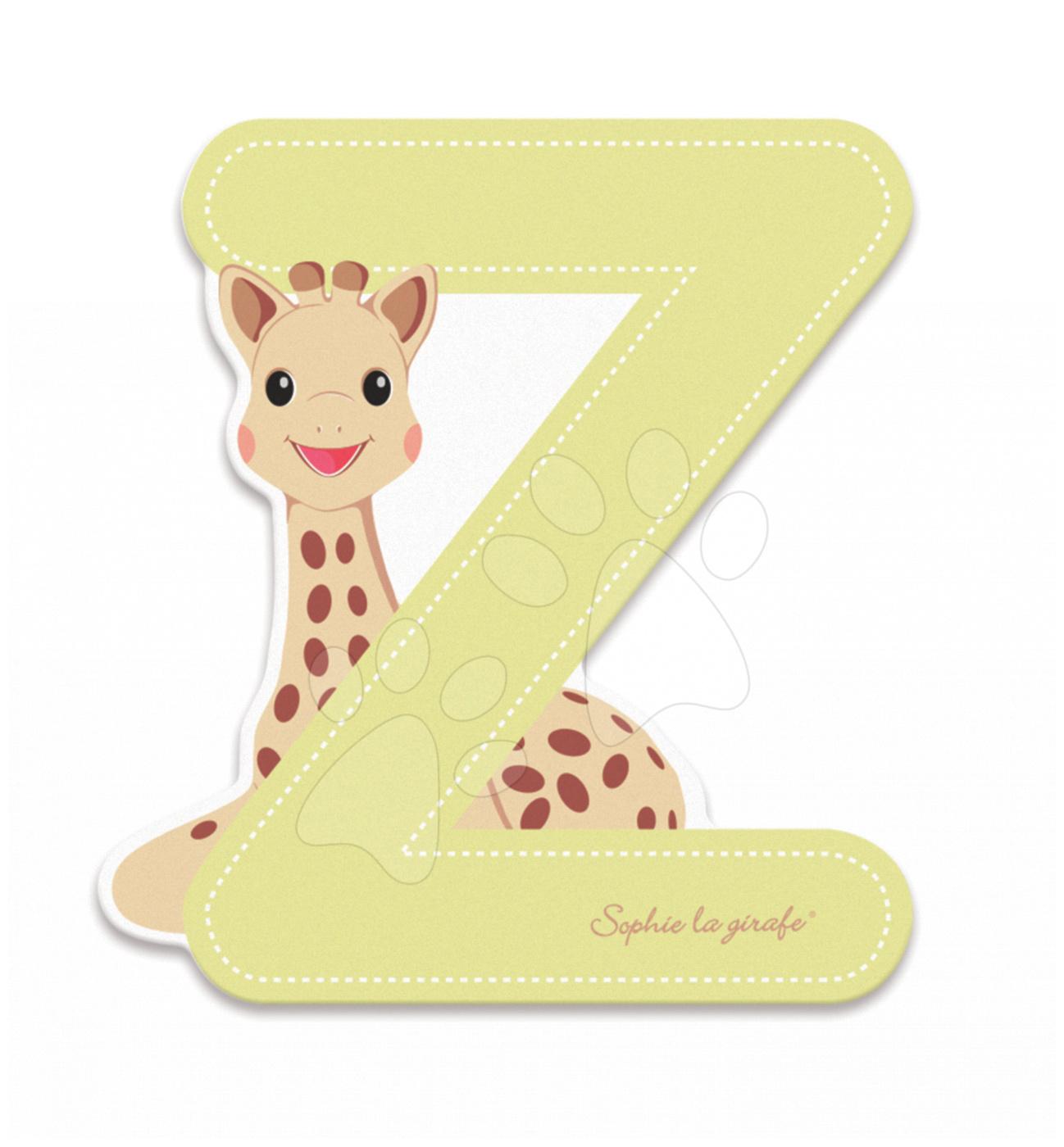 Dekorácie do detských izieb - Drevené písmeno Z Sophie The Giraffe Janod lepiace 7 cm béžové od 3 rokov