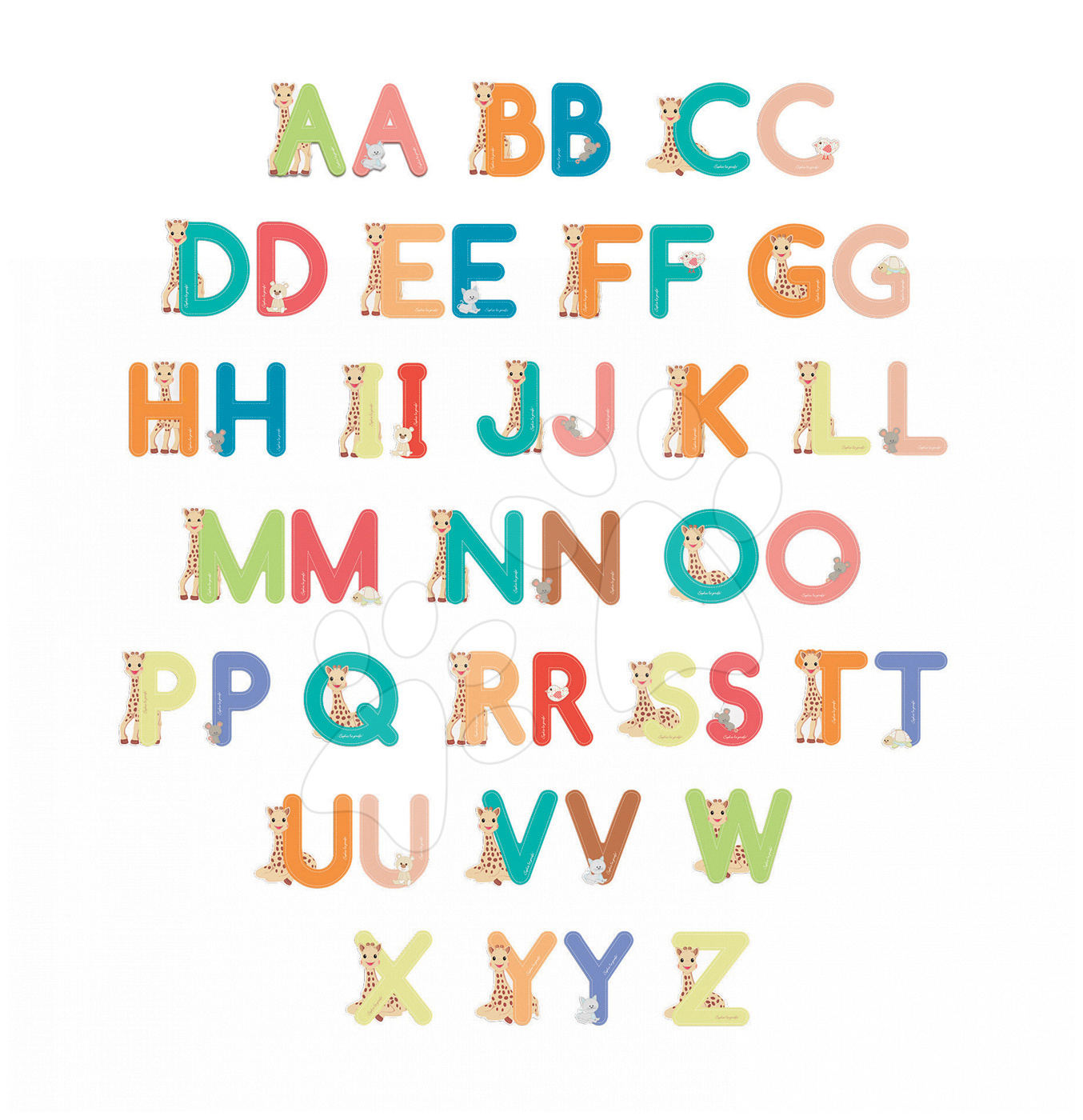 Dřevěná lepící písmena Sophie la Girafe Letters Janod 144 ks