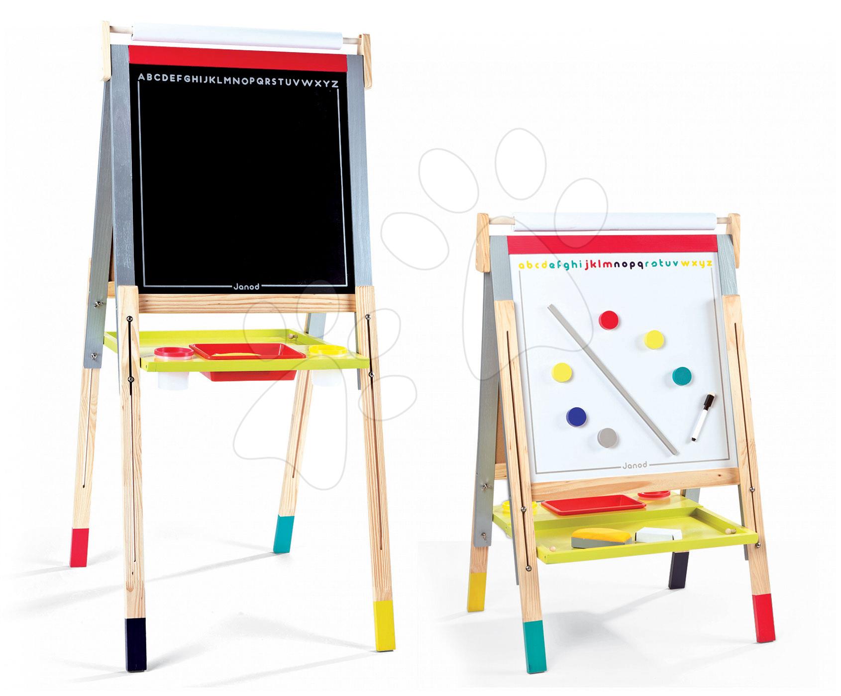 Dřevěná školní tabule Graffiti Janod magnetická, oboustranná a polohovatelná se 14 doplňky od 3 let