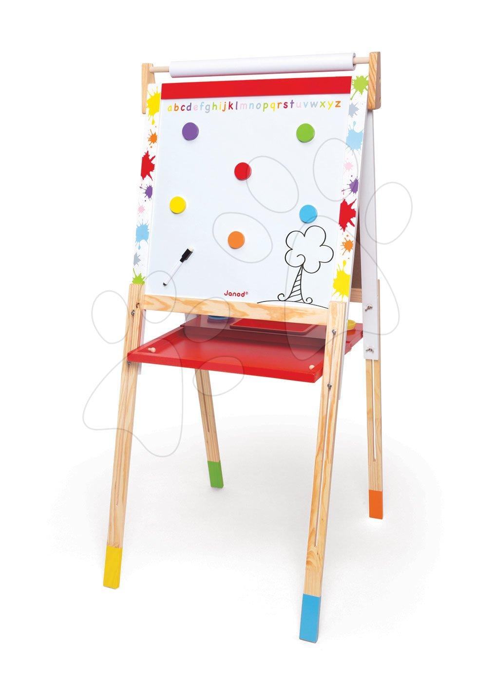 Školské tabule - Drevená školská tabuľa Graffiti Splash Janod magnetická, obojstranná a polohovateľná s 13 doplnkami od 3 rokov