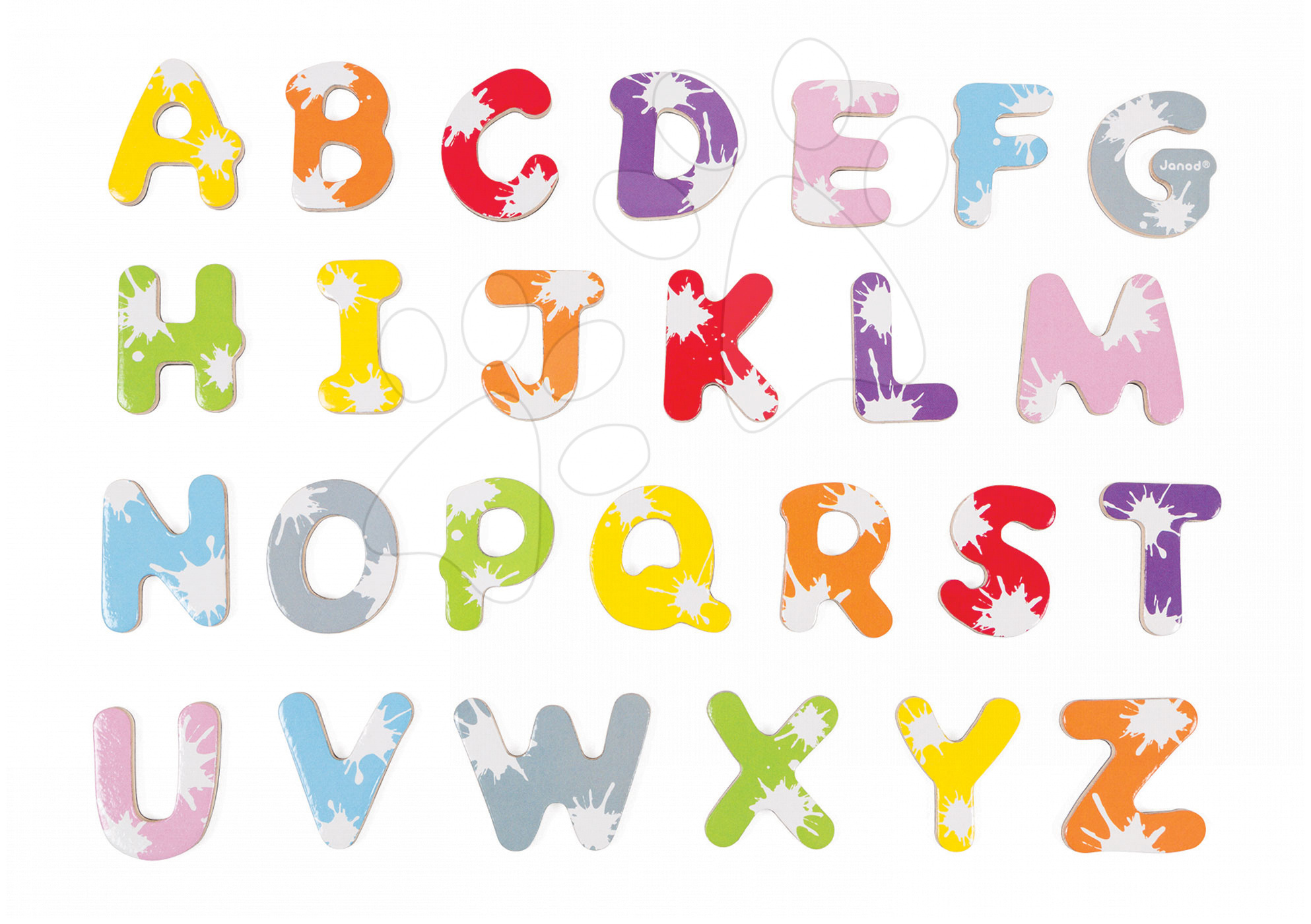 Magnetky pre deti - Drevené magnetky abeceda Splash Janod od 3 rokov