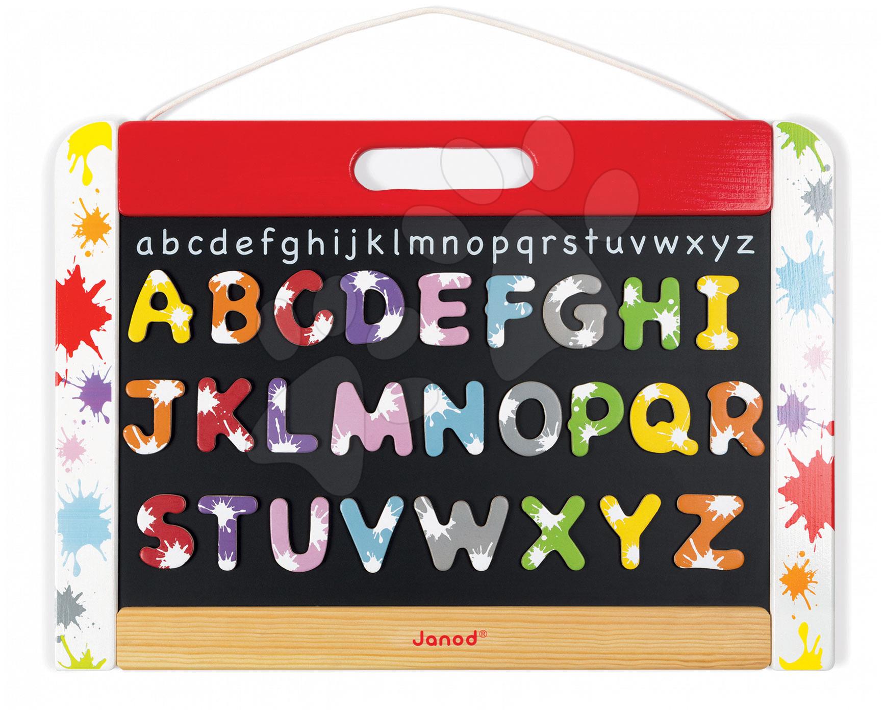 Dřevěná školní tabule Splash Janod magnetická, oboustranná na zavěšení s 28 doplňky
