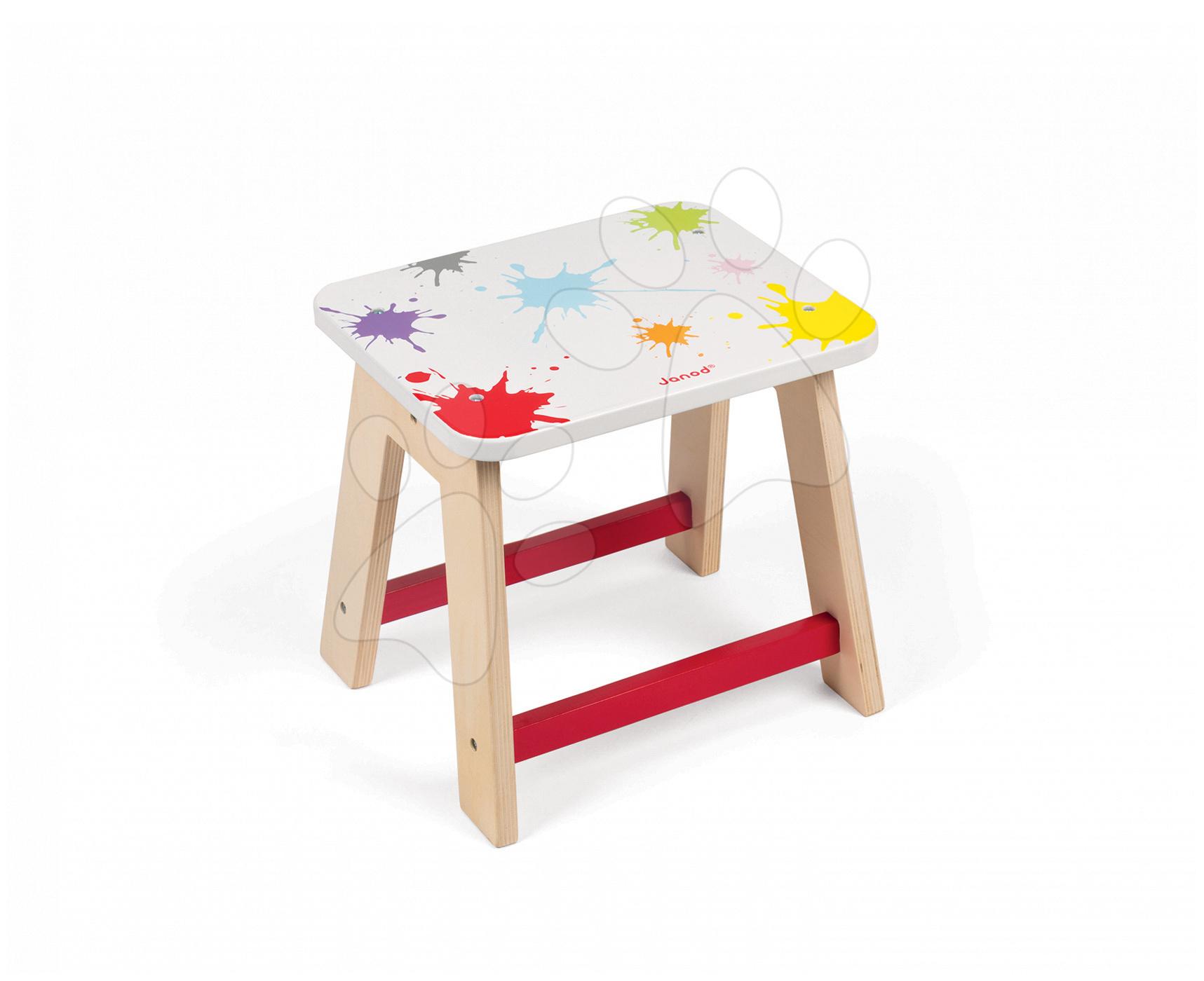 Dřevěná stolička Splash Janod výška 28 cm s opěrkami na nohy od 3 let