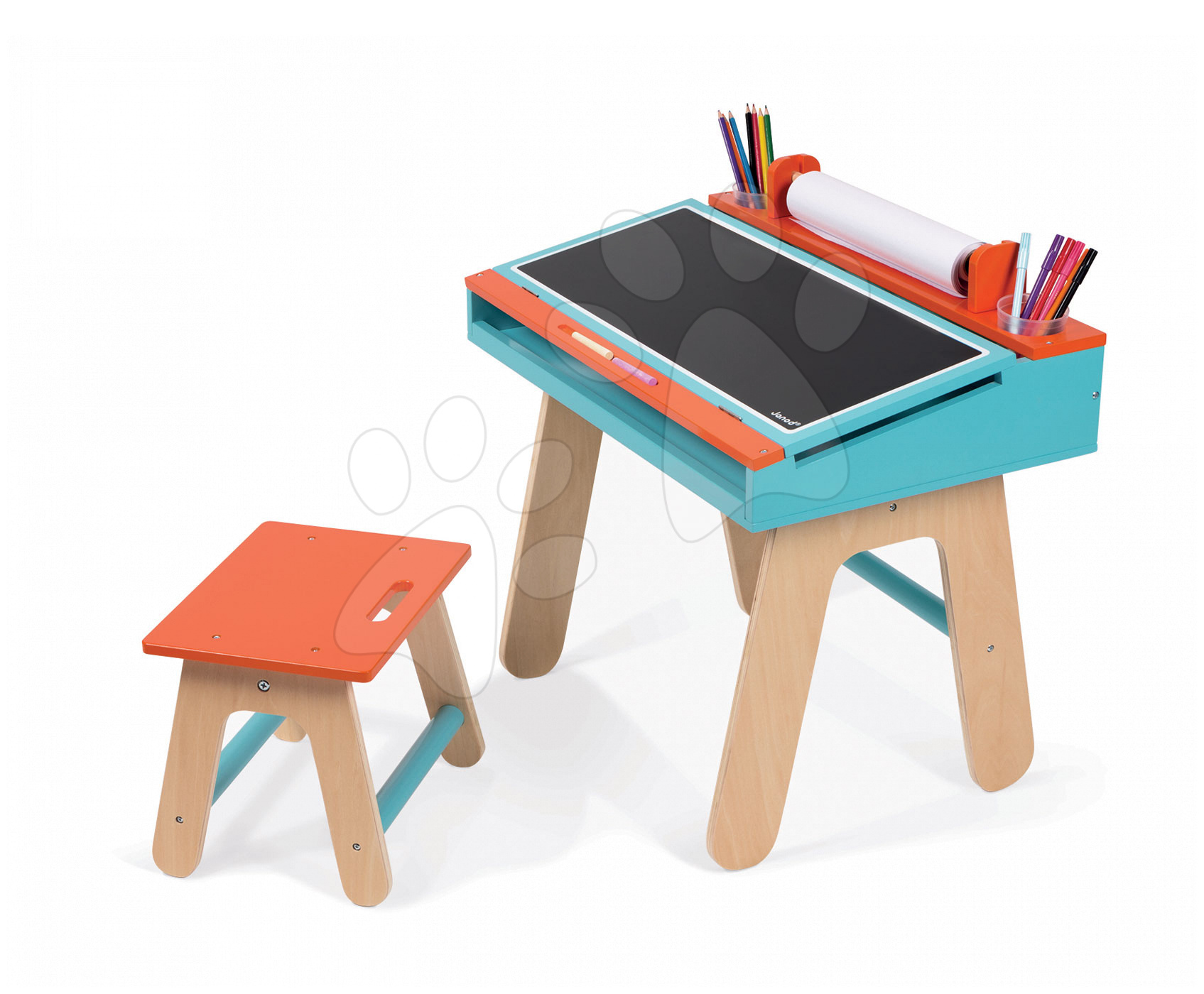 Školské lavice - Drevená školská lavica Orange&Blue Janod otvárateľná so stoličkou a 5 doplnkami oranžovo-modrá