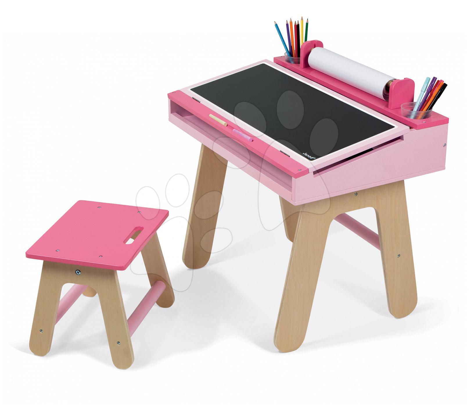 Dřevěná školní lavice Pink&Pink Janod otvíratelná se židlí a 5 doplňky od 3 let