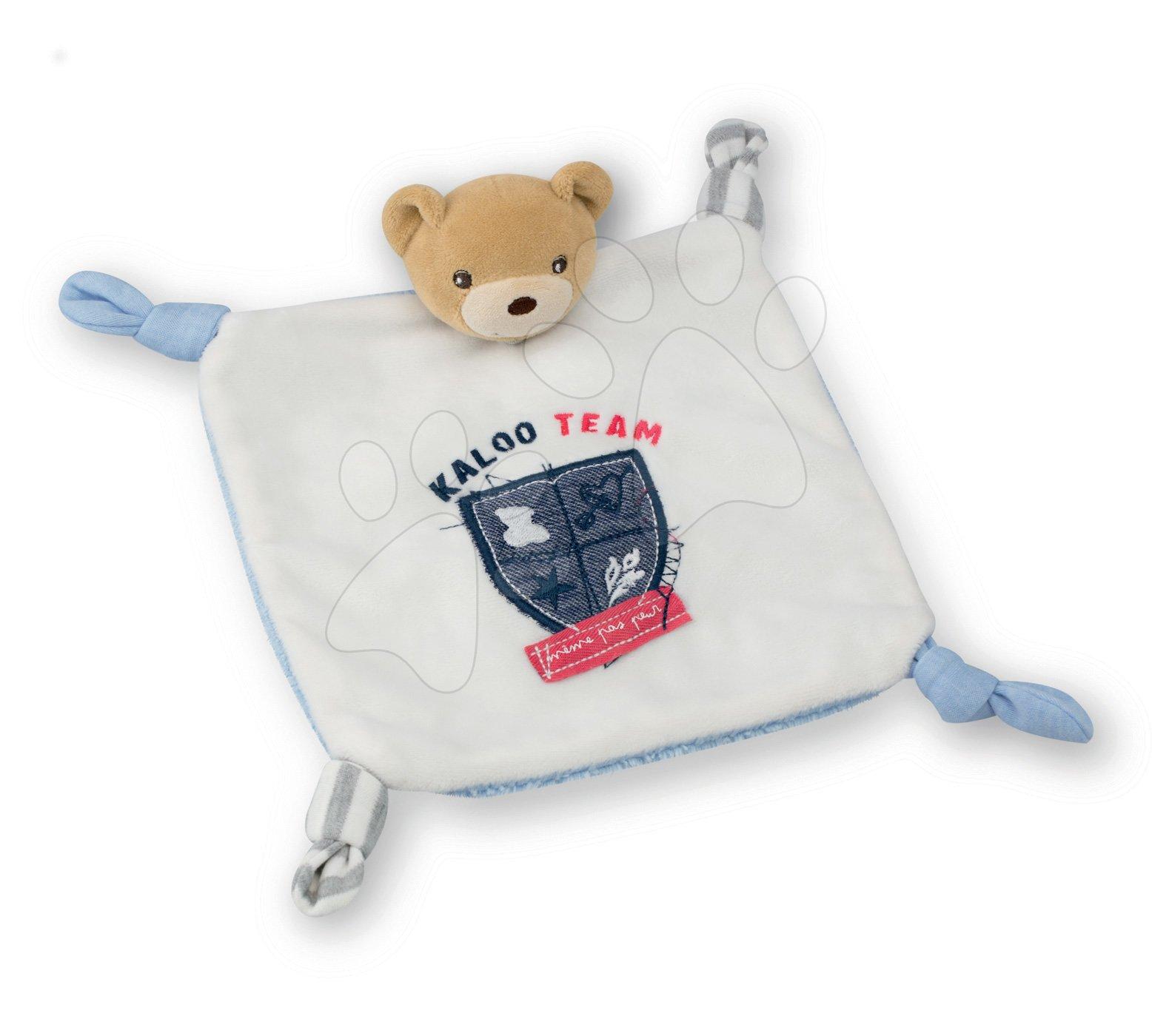 Hračky na maznanie a usínanie - Plyšový medvedík na maznanie Doudou Team Kaloo 20 cm v darčekovom balení pre najmenších modrý