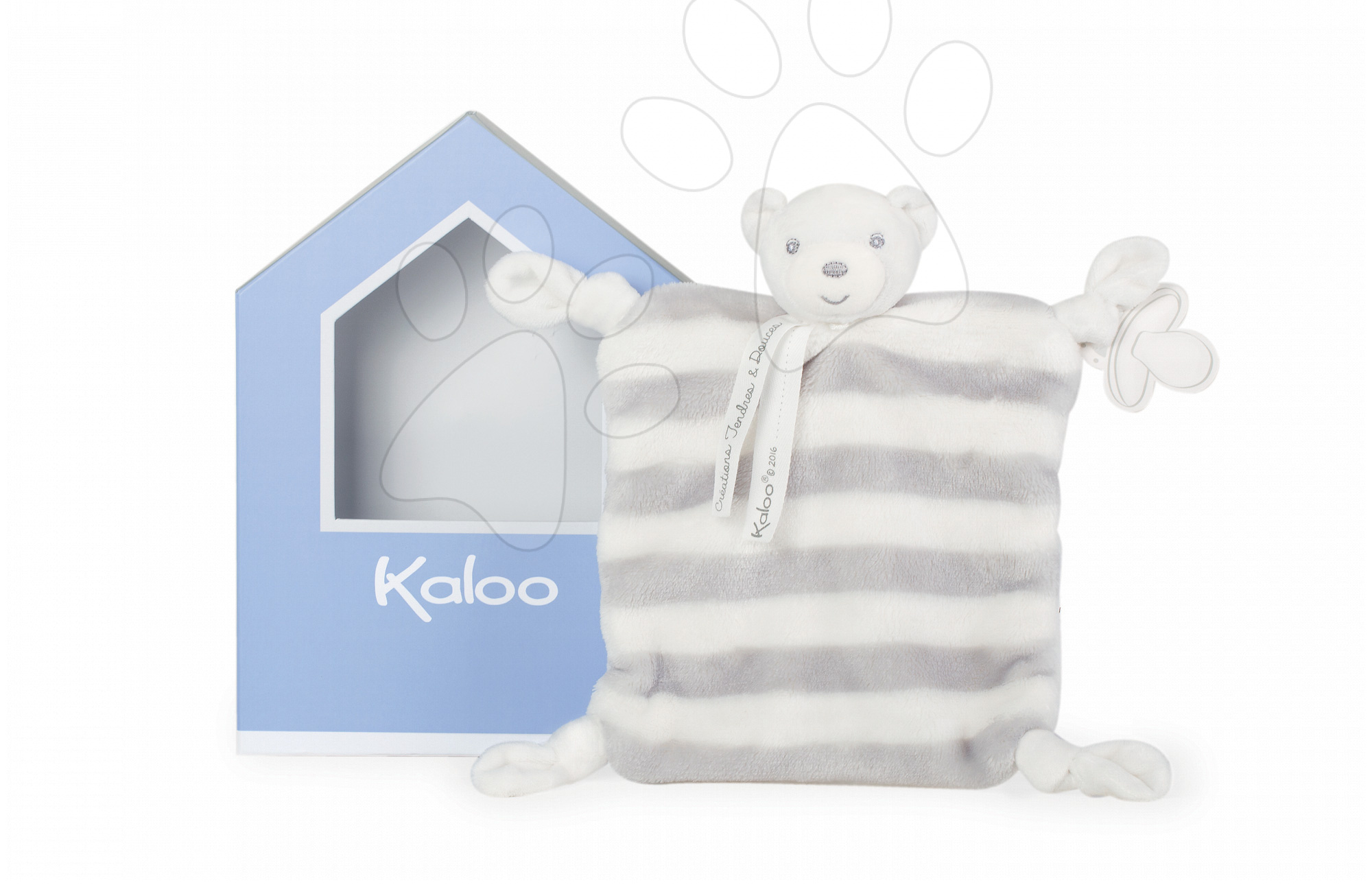 Plyšový medvídek na mazlení Bebe Pastel Doudou Kaloo 20 cm v dárkovém balení šedo-krémový