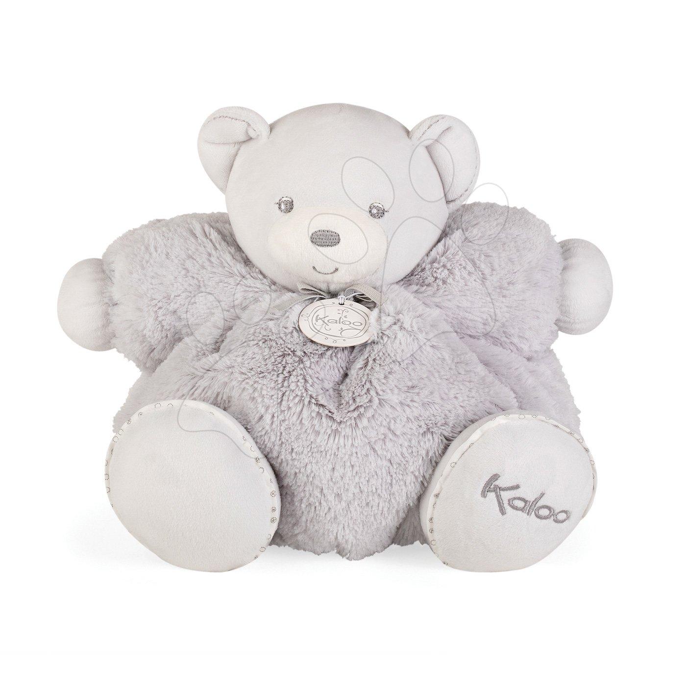 Plyšový medvedík s hrkálkou Perle Chubby Kaloo 30 cm v luxusnom prevedení v darčekovej krabičke šedý