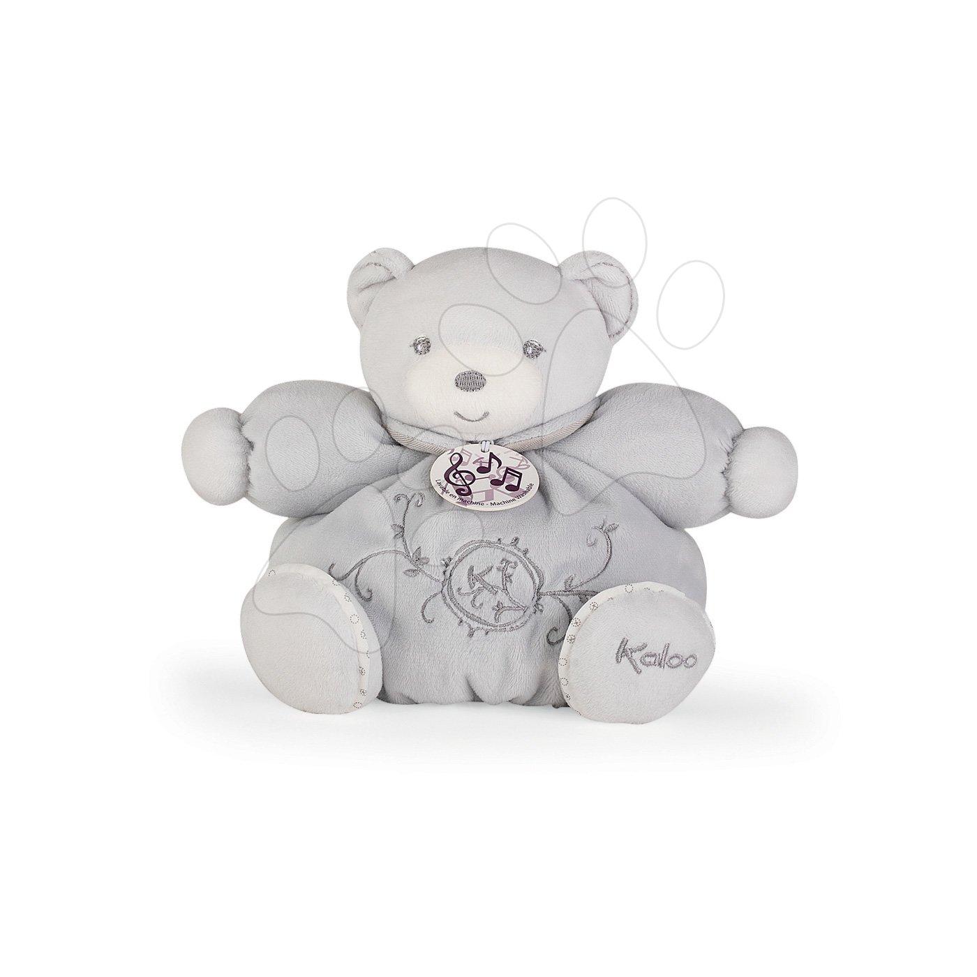 Plyšový medvedík spievajúci Perle Chubby Kaloo 18 cm v darčekovej krabičke šedý od 0 mesiacov