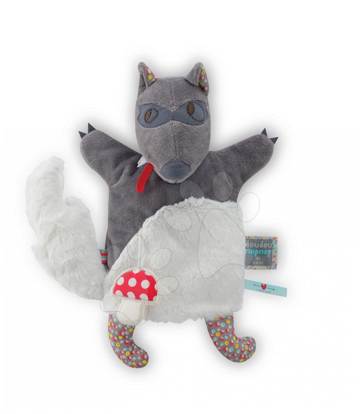 Plyšový vlk loutkové divadlo Nopnop-Loup Wolf Doudou Kaloo 25 cm pro nejmenší
