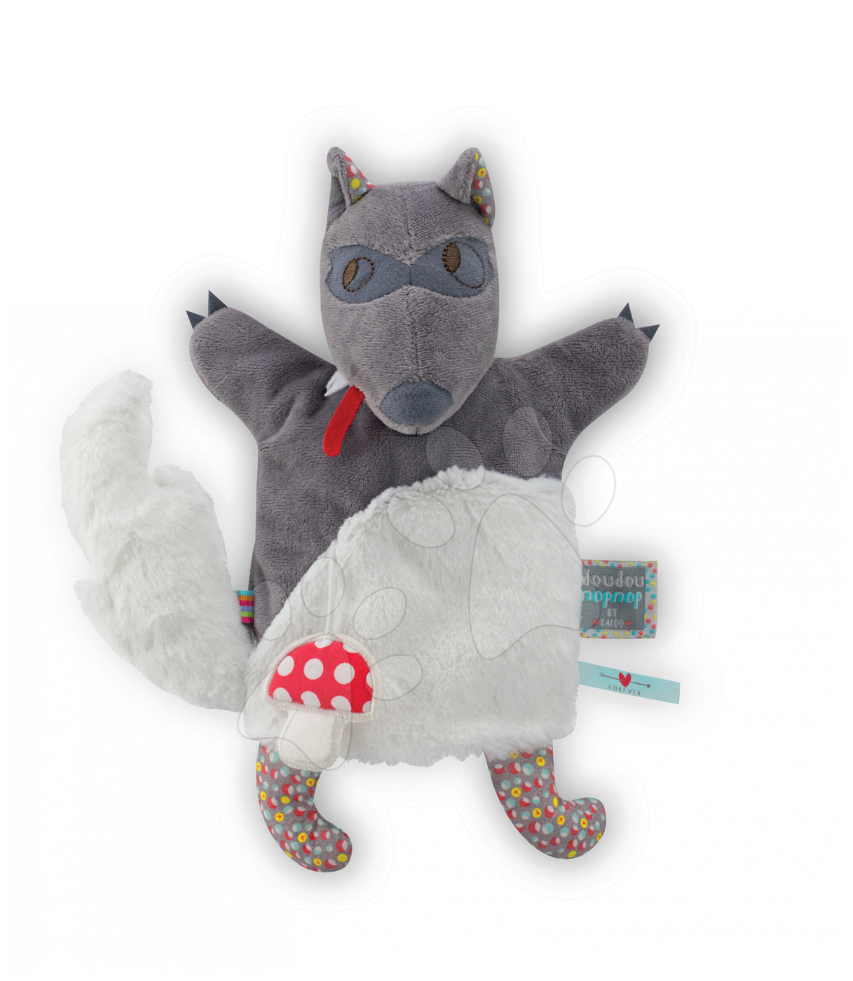 Bábky pre najmenších - Plyšový vlk bábkové divadlo Nopnop-Loup Wolf Doudou Kaloo 25 cm pre najmenších