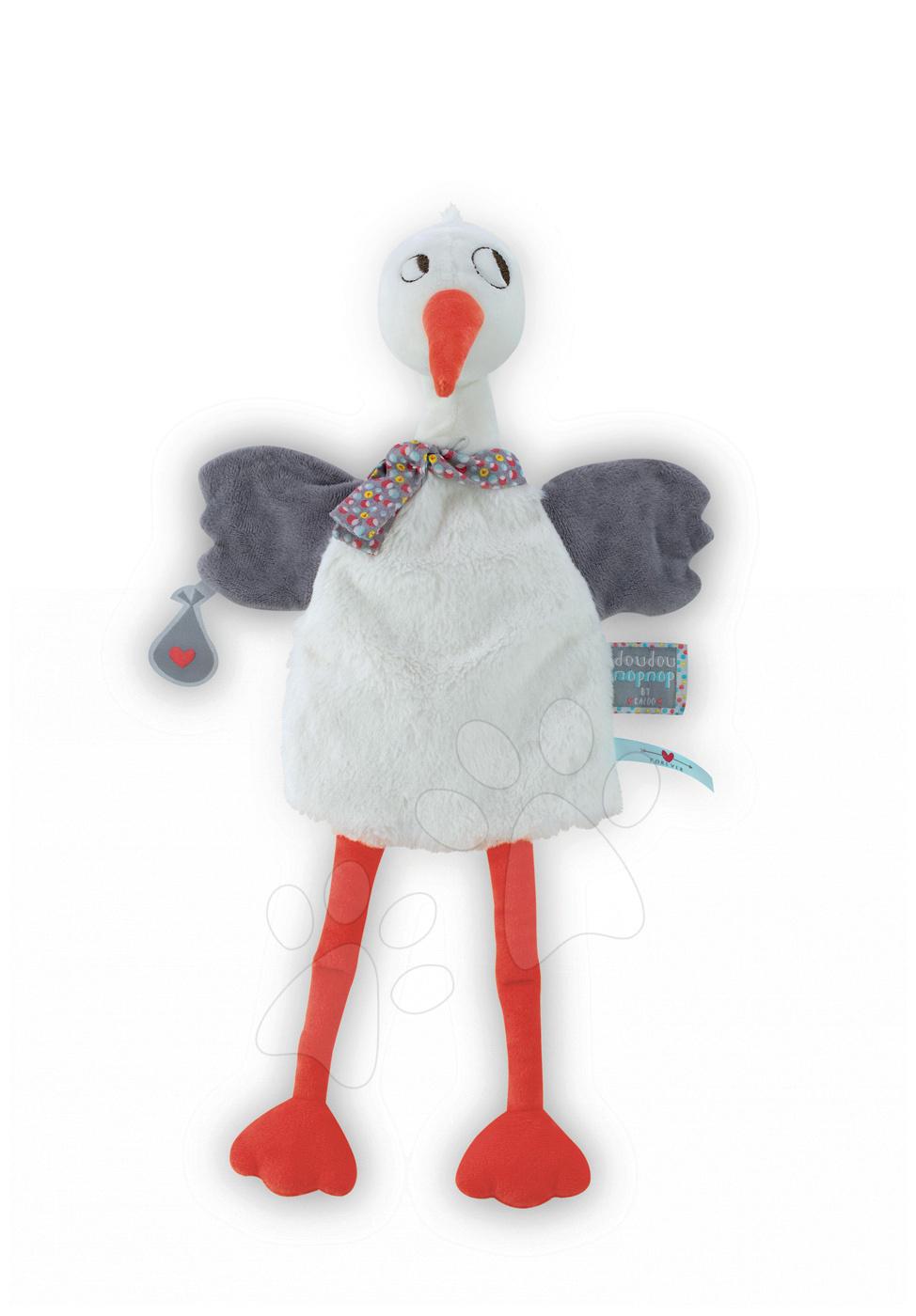 Plyšový čáp loutkové divadlo Nopnop-Dandy Stork Doudou Kaloo 25 cm pro nejmenší