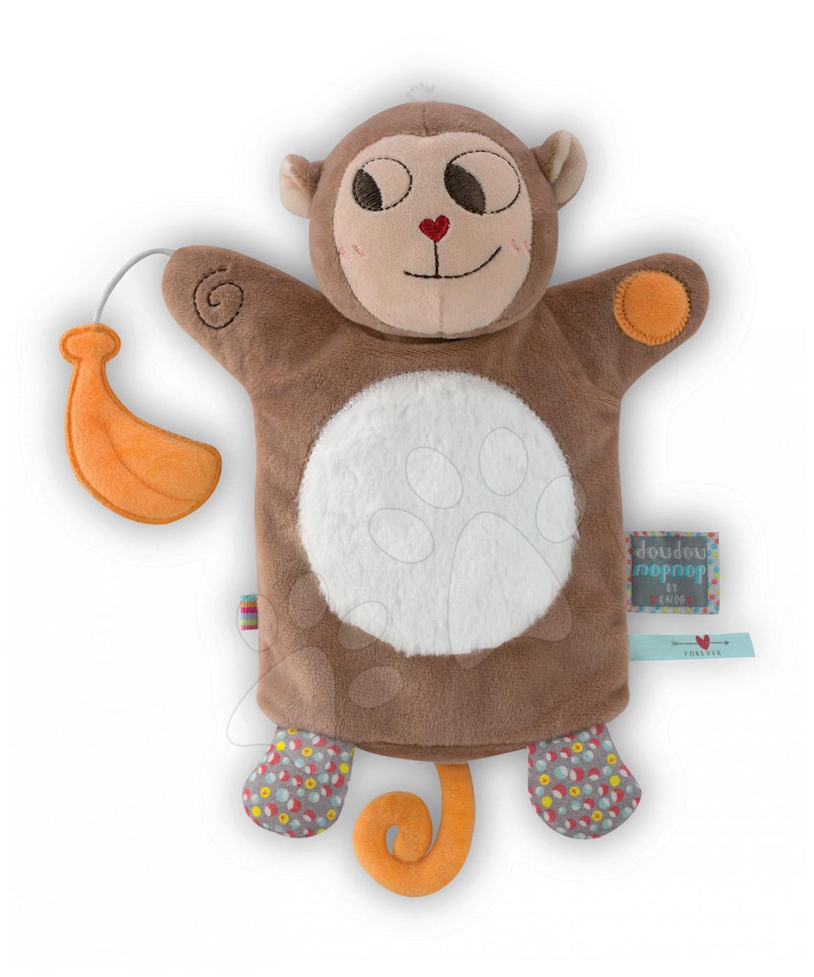 Bábky pre najmenších - Plyšová opička bábkové divadlo Nopnop-Banana Monkey Doudou Kaloo 25 cm pre najmenších