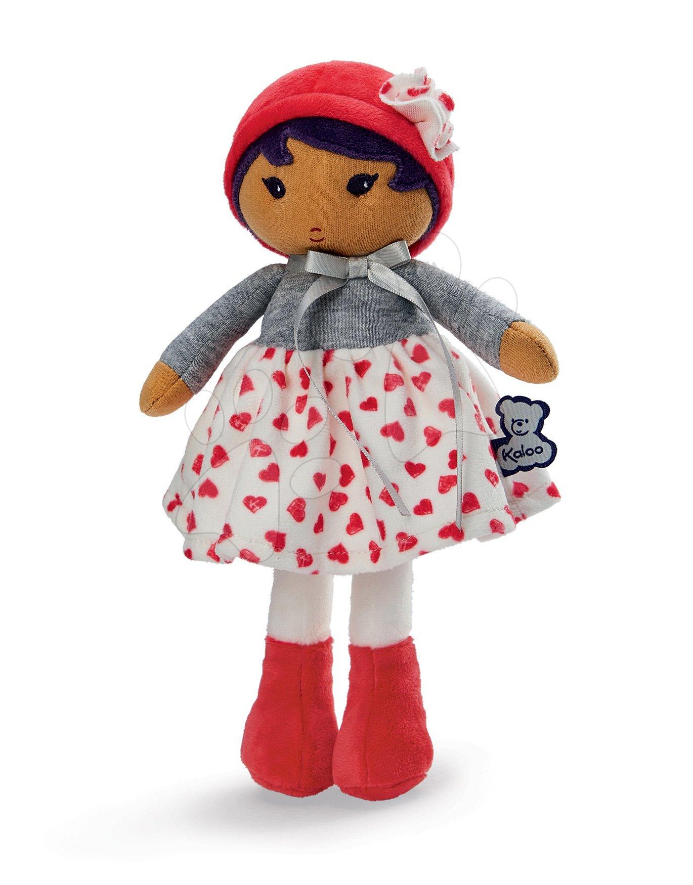Bábika pre bábätká Jade K Tendresse Kaloo 25 cm v srdiečkových šatách z jemného textilu v darčekovom balení od 0 mes