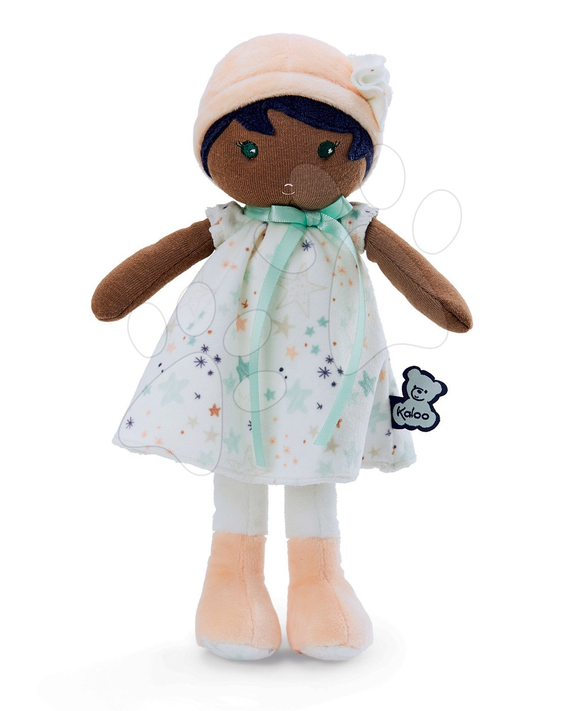 Panenka pro miminka Manon K Tendresse Kaloo 32 cm v hvězdičkových šatech z jemného textilu v dárkovém balení od 0 měsíců