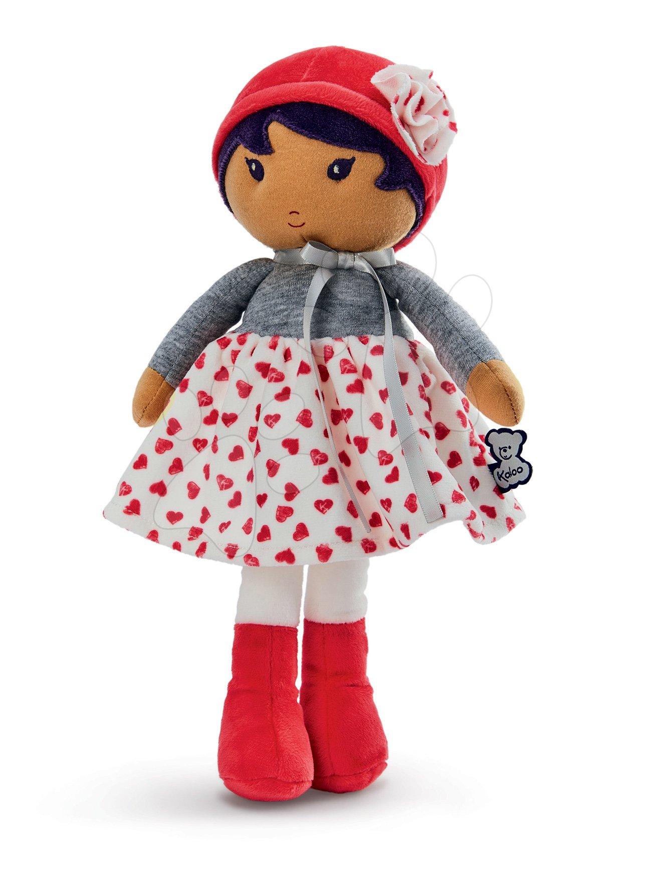 Panenka pro miminka Jade K Tendresse Kaloo 32 cm v srdíčkovým šatech z jemného textilu v dárkovém balení od 0 měsíců