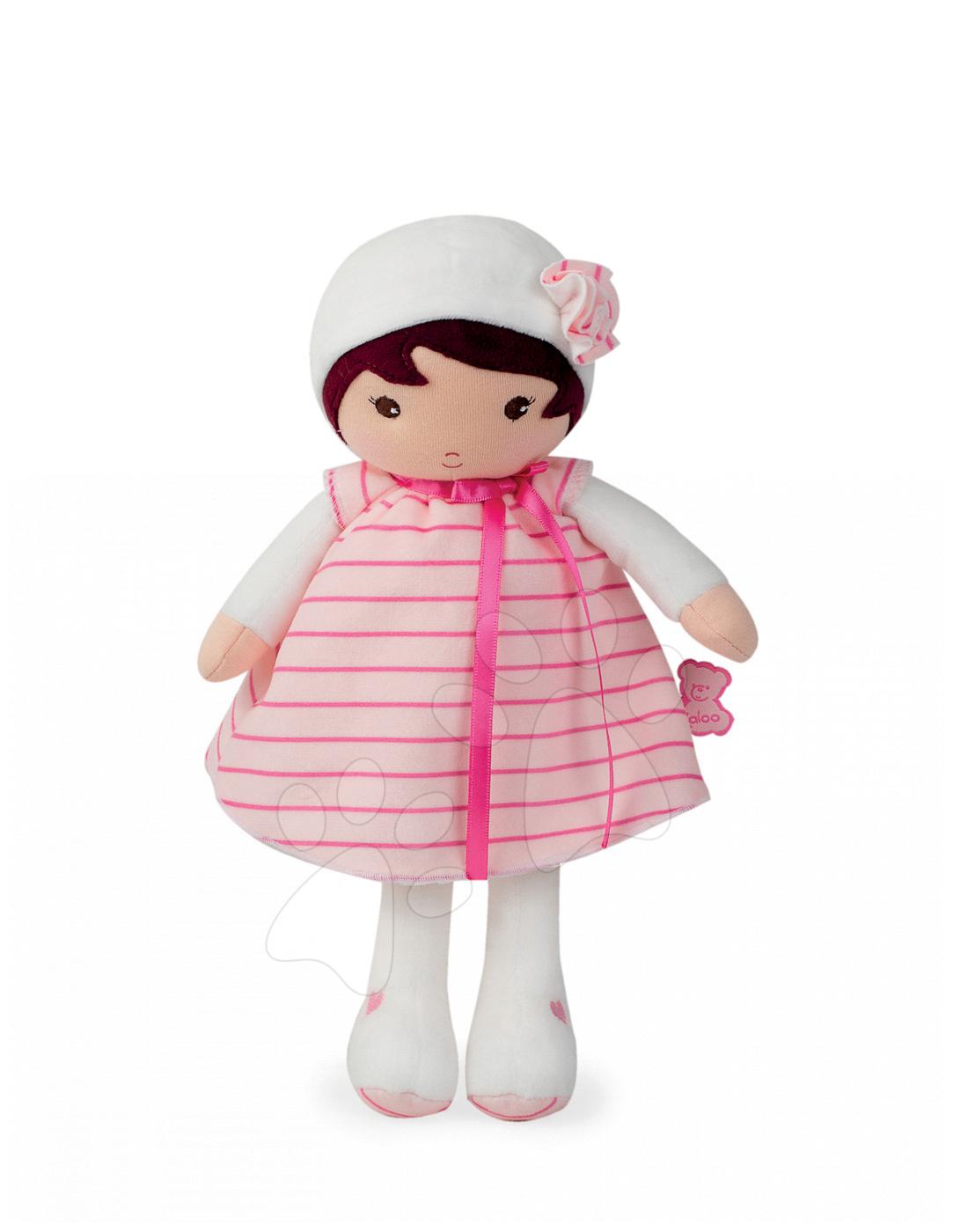 Bábika pre najmenších Rose K Tendresse Kaloo v pásikavých šatách z jemného textilu v darčekovom balení 32 cm