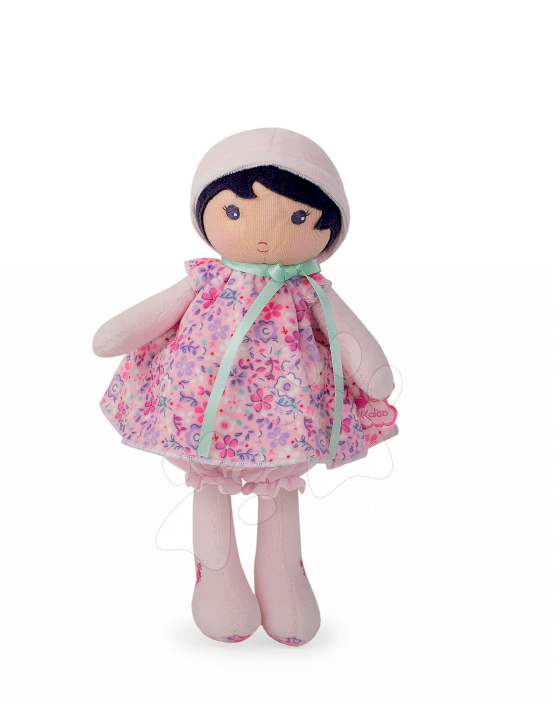 Bábika pre bábätká Fleur K Tendresse Kaloo v kvetinkových šatách z jemného textilu v darčekovom balení 25 cm
