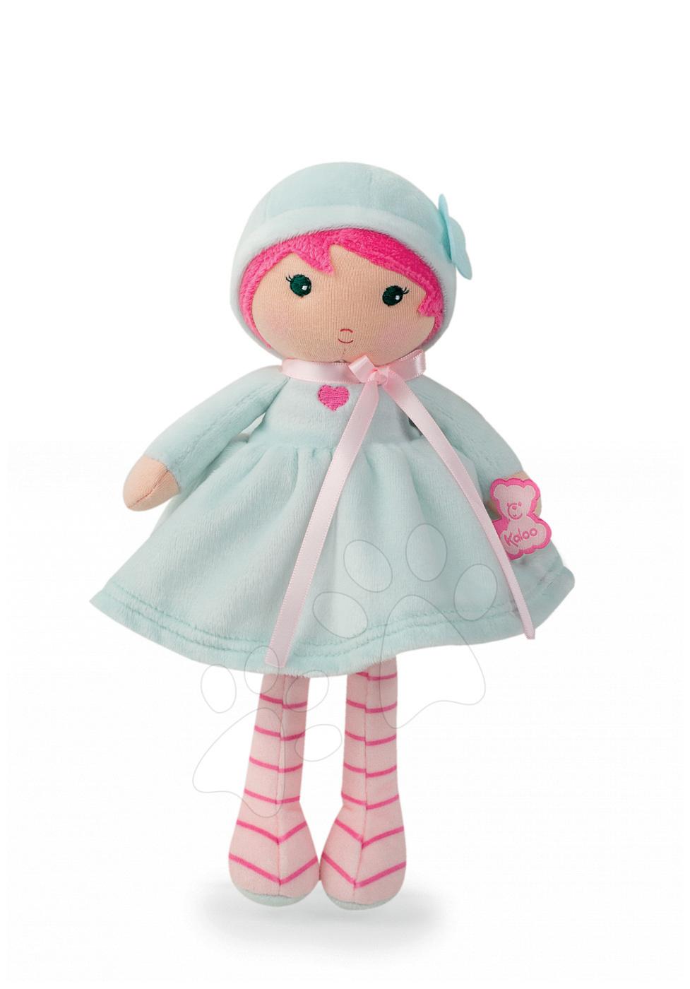 Bábika pre bábätká Azure K Tendresse Kaloo 25 cm v svetlomodrých šatách z jemného textilu v darčekovom balení od 0 mes