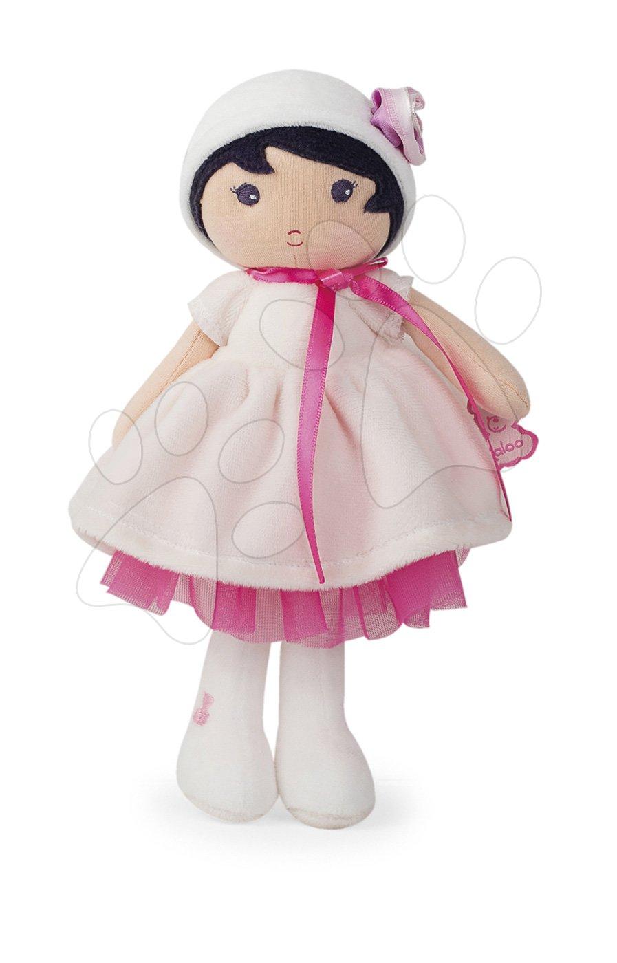 Bábika pre bábätká Perle K Tendresse Kaloo v bielych šatách z jemného textilu v darčekovom balení 25 cm