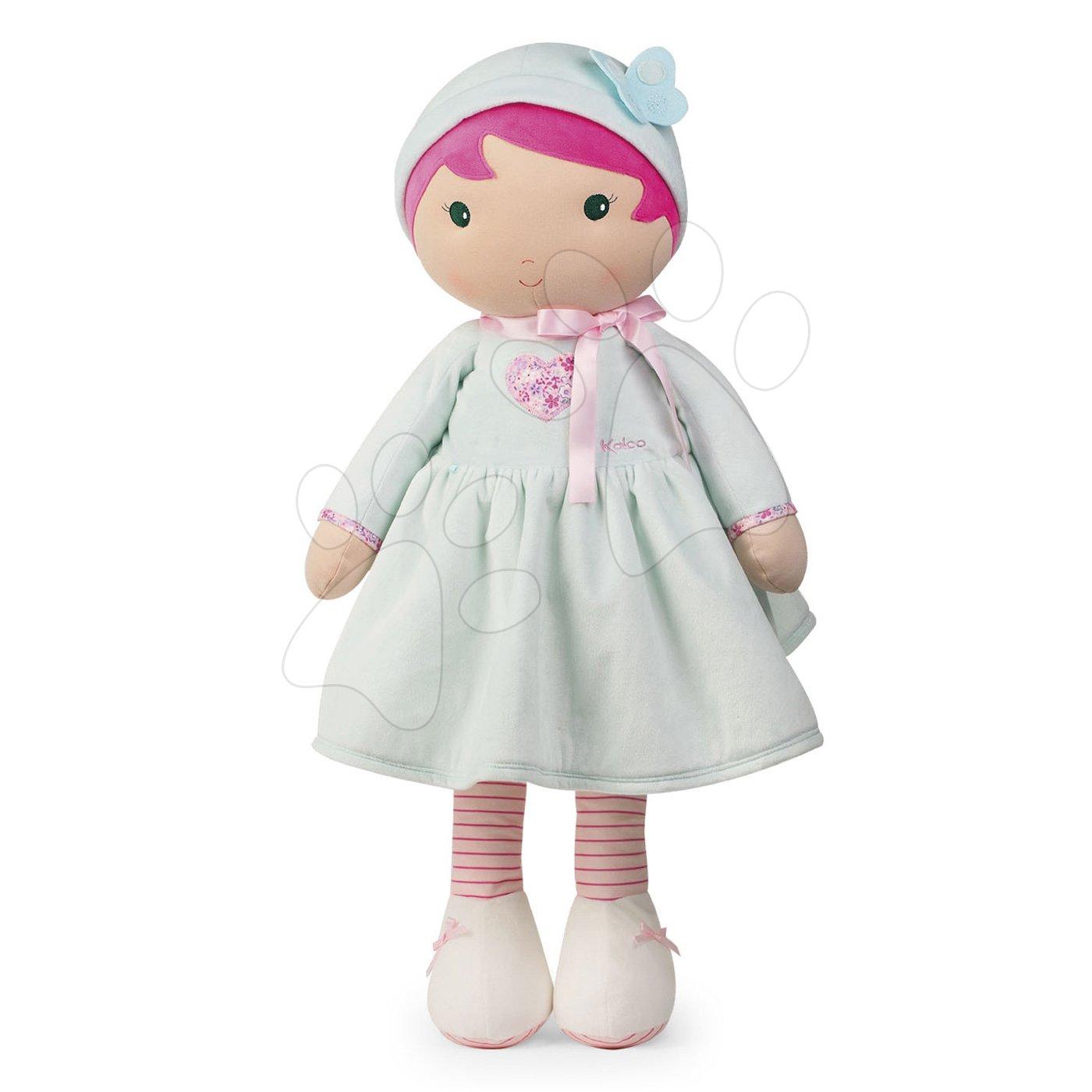Păpuşă pentru bebeluşi Perle K Tendresse doll XXL Kaloo 80 cm în hăinuţă cu inimioare din material fin