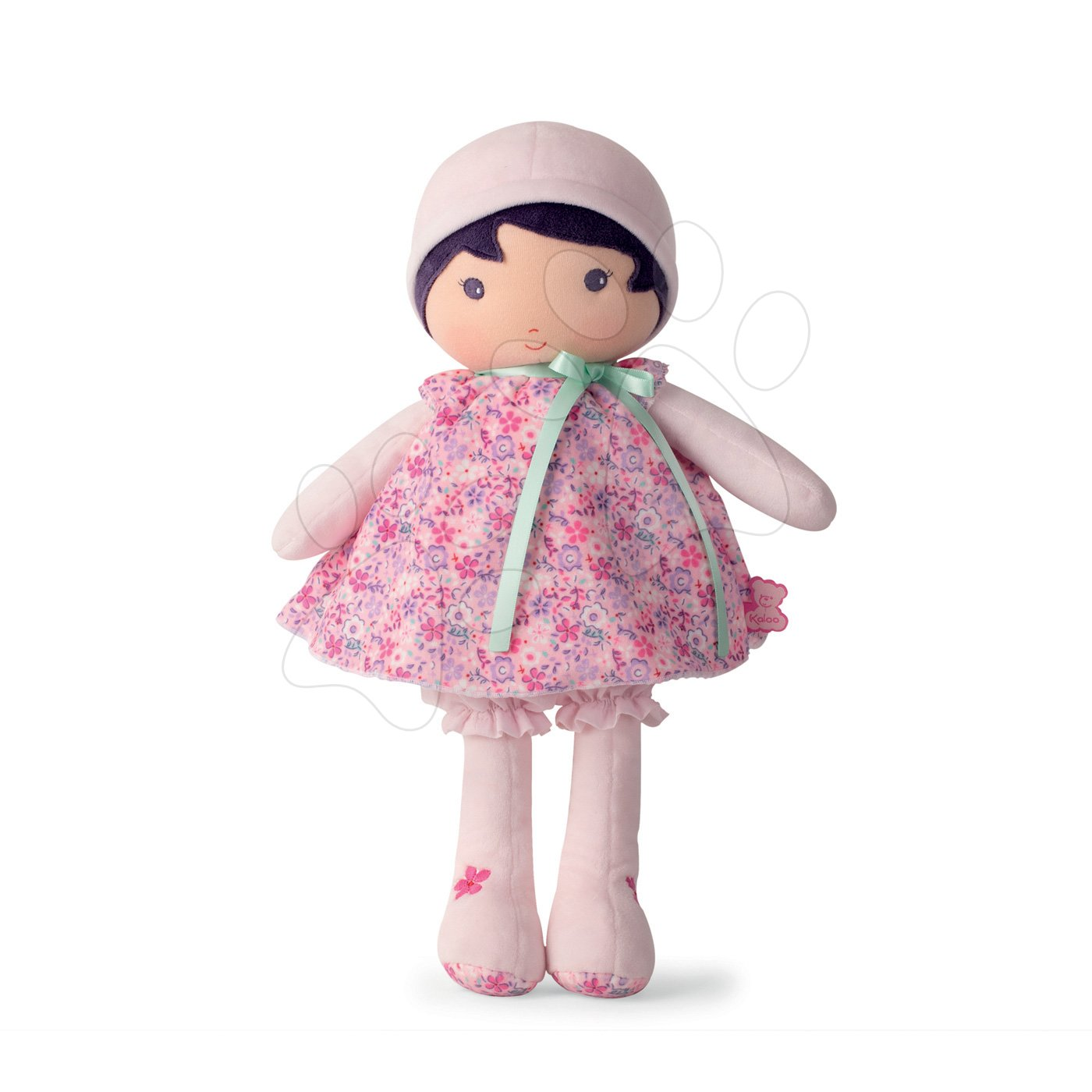 Păpuşă pentru bebeluşi Fleur K Tendresse Kaloo 40 cm în hăinuţă cu motiv floral din textil fin în ambalaj de cadou